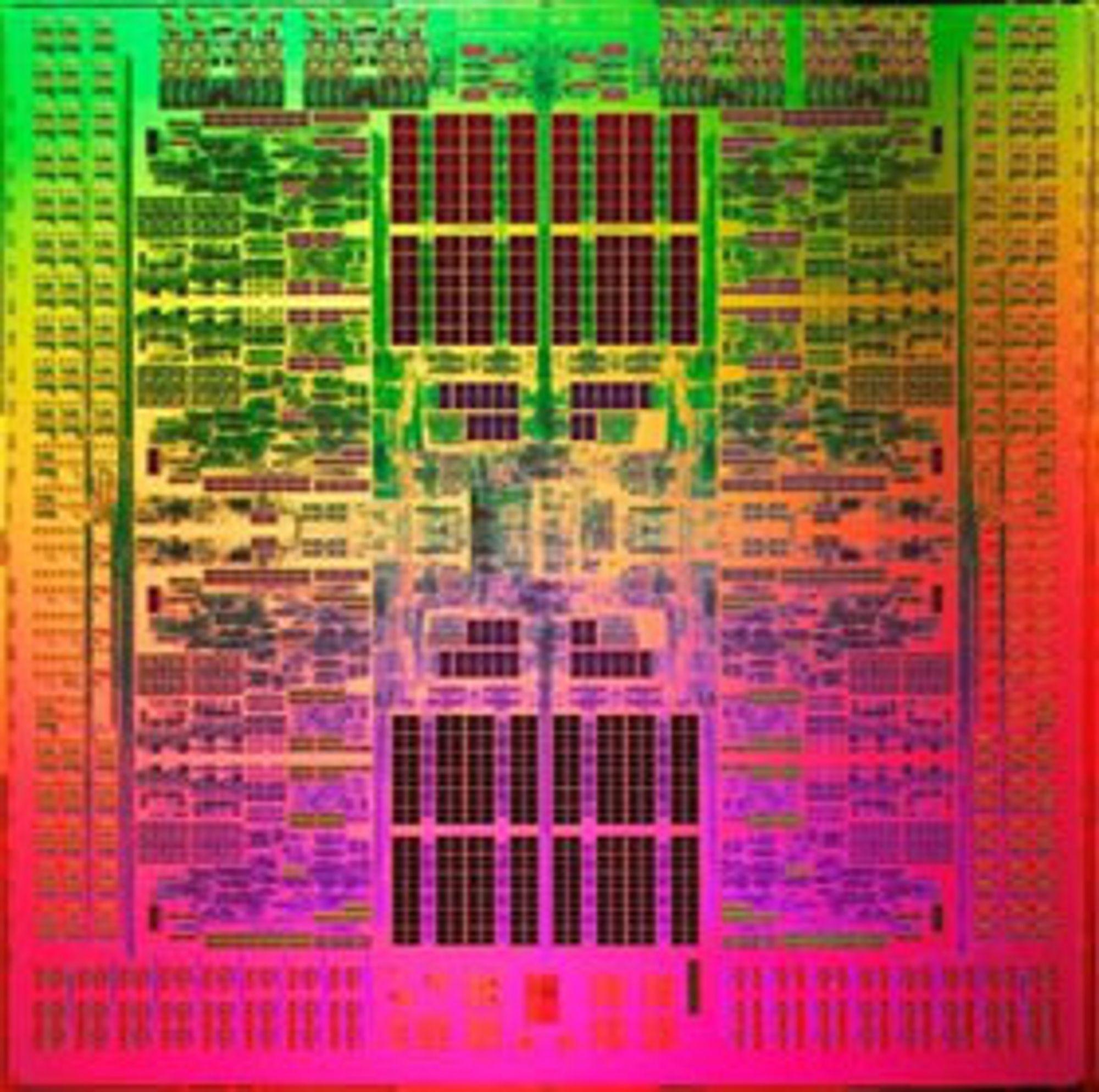 På dette spesialbehandlede bildet trer de åtte kjernene i Sparc 64 VIIIfx-prosessoren tydelig fram. K skal inneholde 80.000 prosessorer av denne typen.