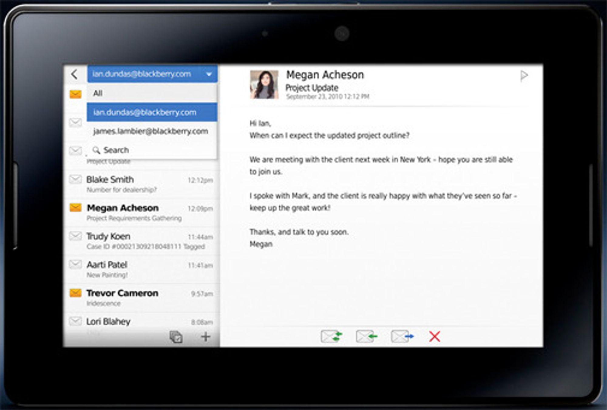 RIM Playbook med e-post.