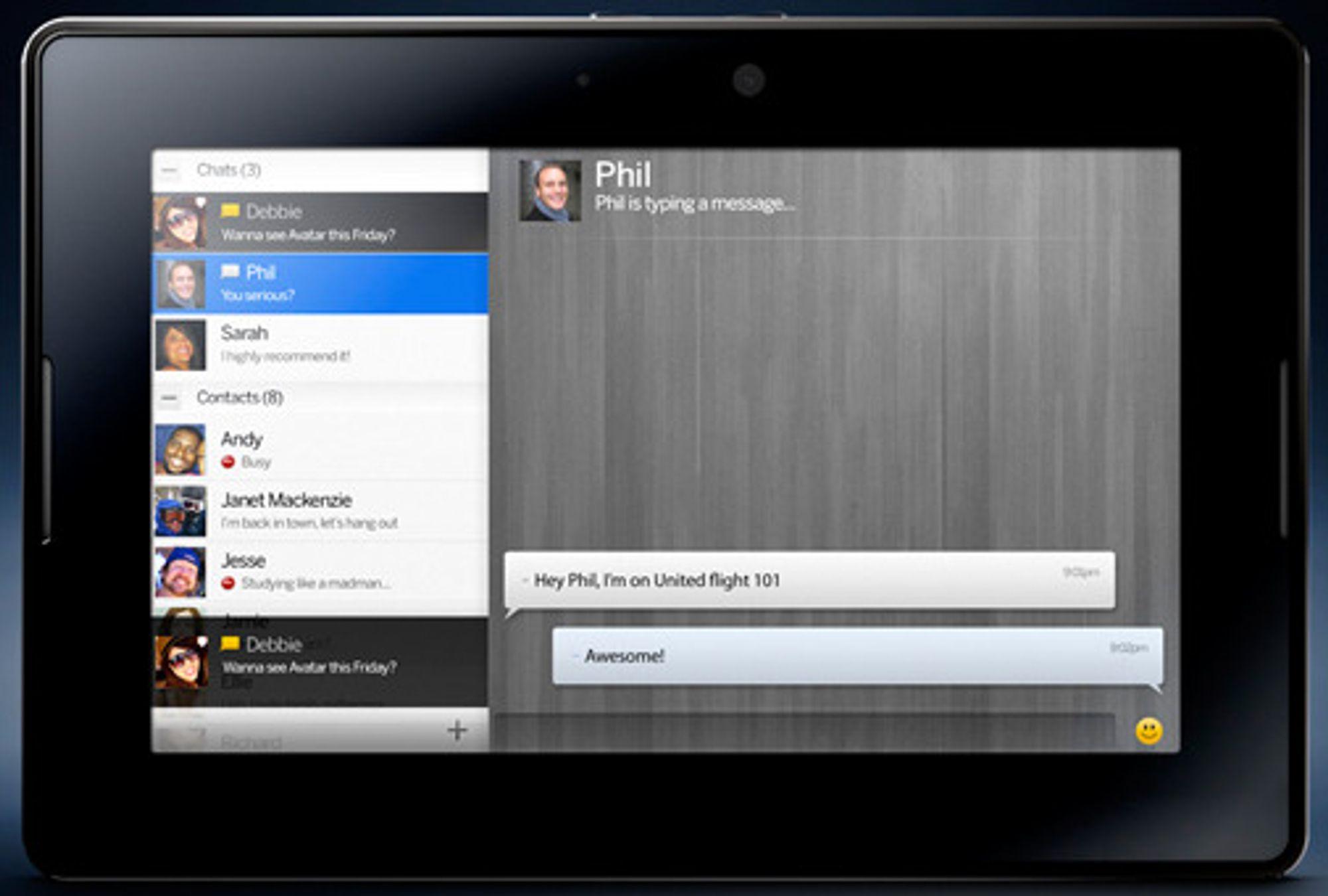 RIM Playbook med lynmelderen BBM Blackberry Messenger).