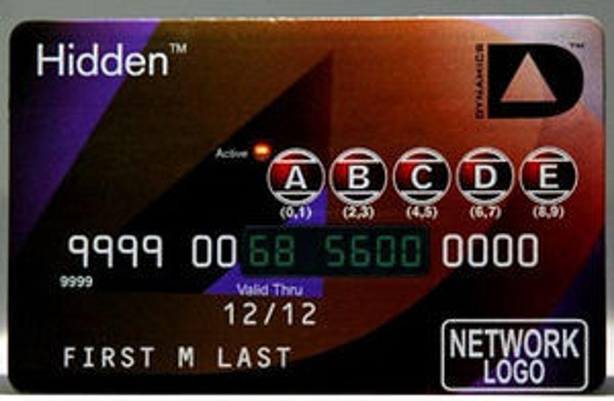 Kortet med taster for pinkode og skjerm for å vise den skjulte delen av kortnummeret.