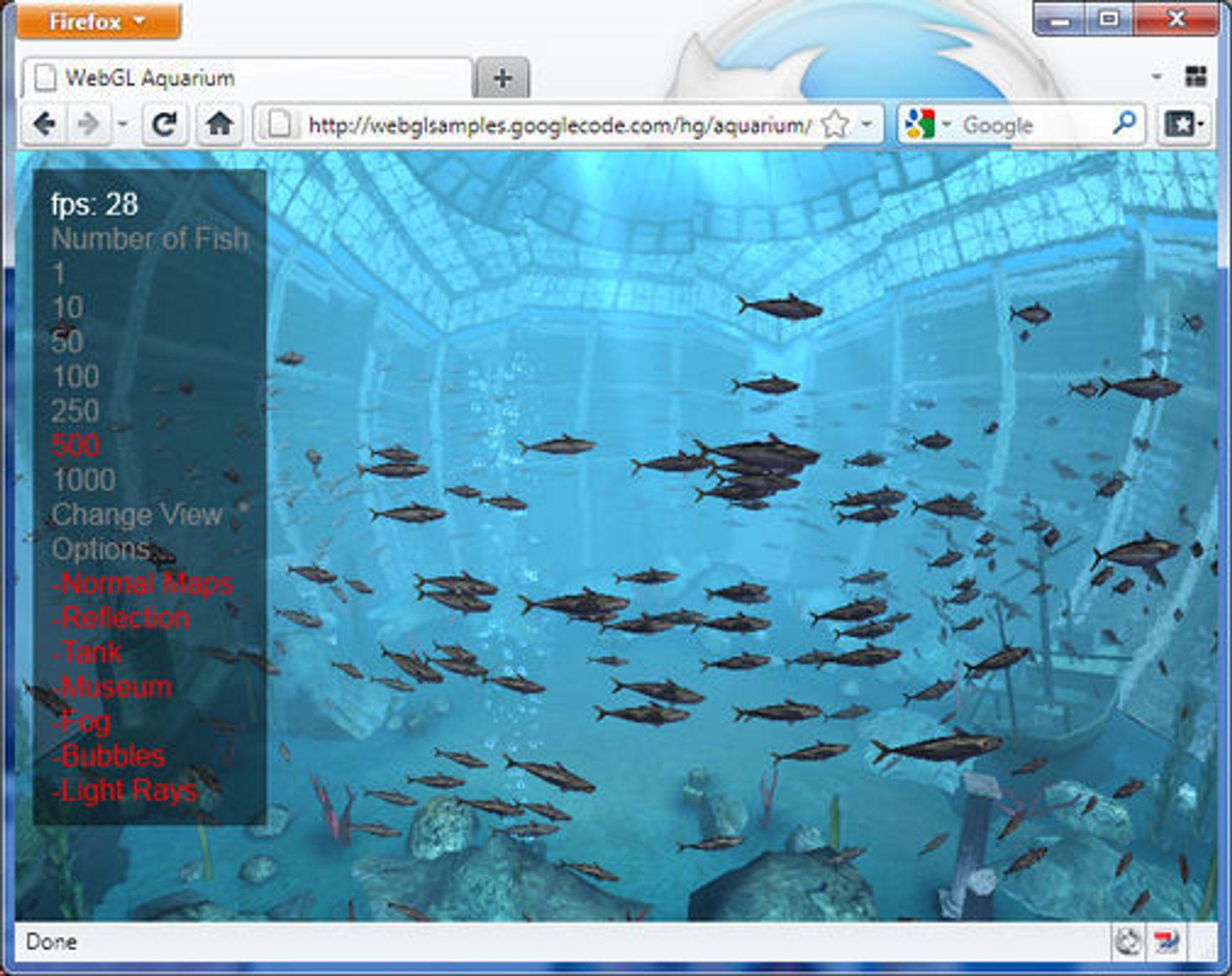 Googles akvariumtest fungerer bare i nettlesere som støtter WebGL. Her vist i Firefox 4 beta 6.