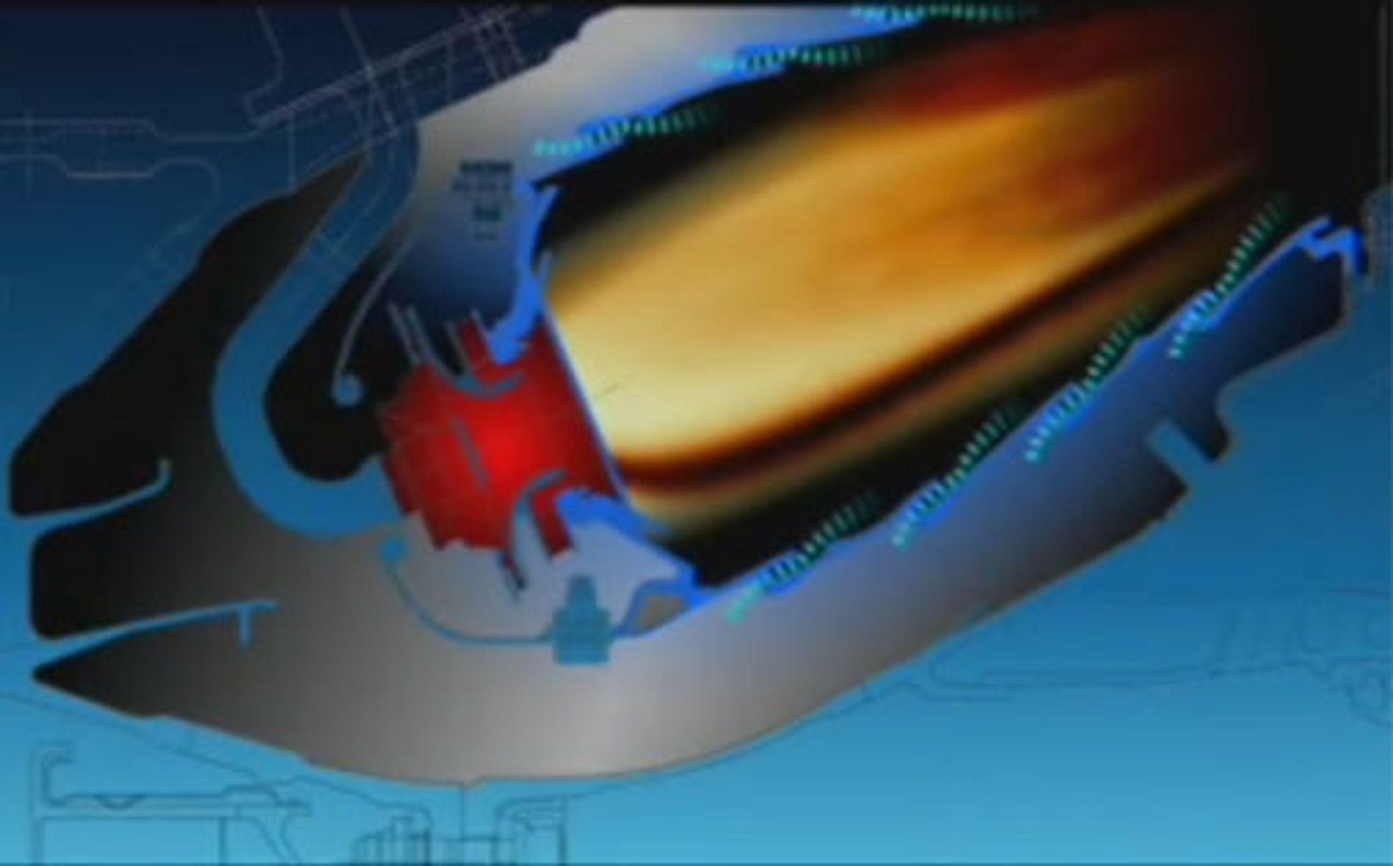 Jetmotor hvor laminære luftstrømmer kjøler veggene.
