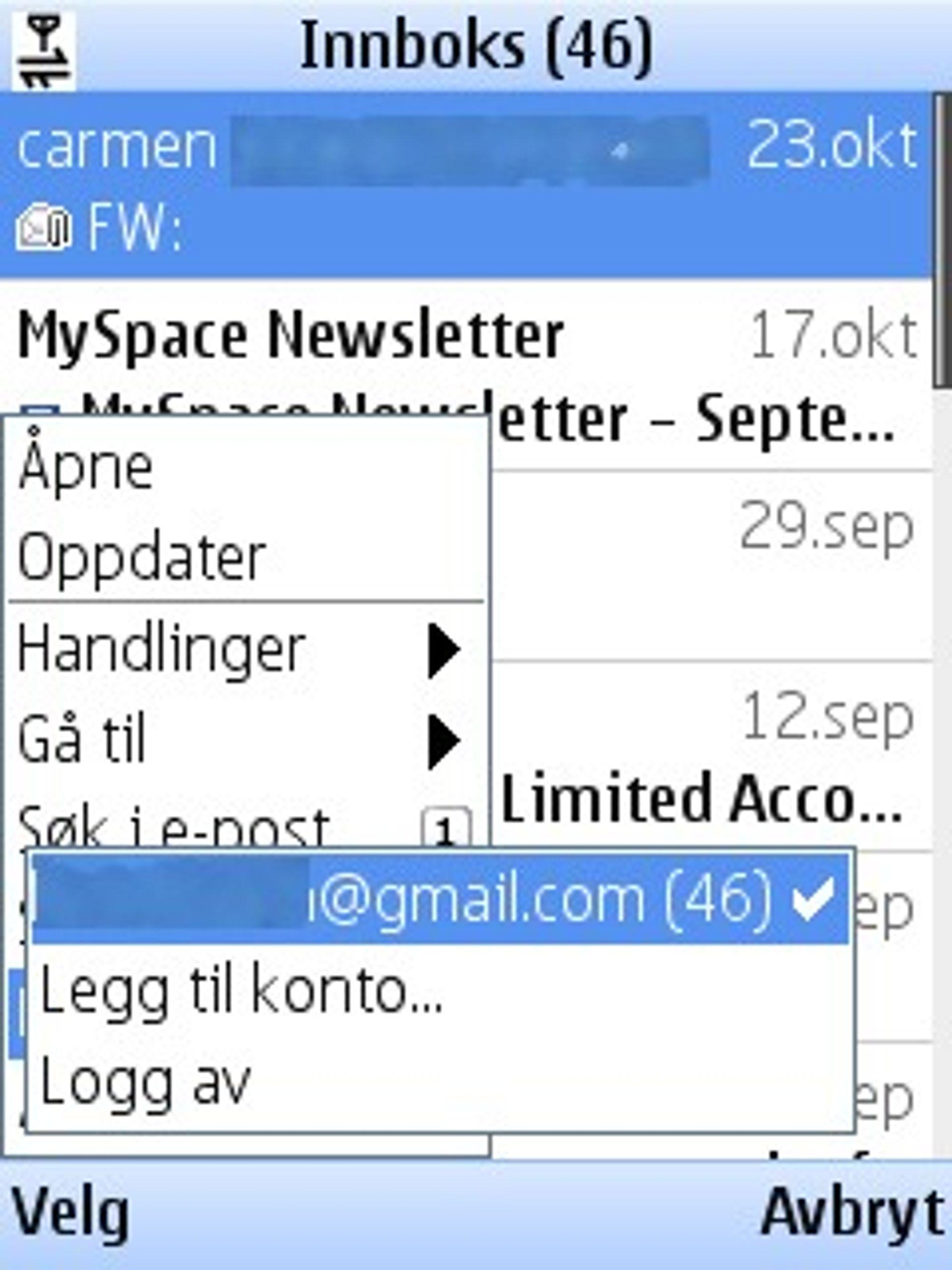 Man kan legge til flere e-postkontoer i Gmail for mobile 2.0