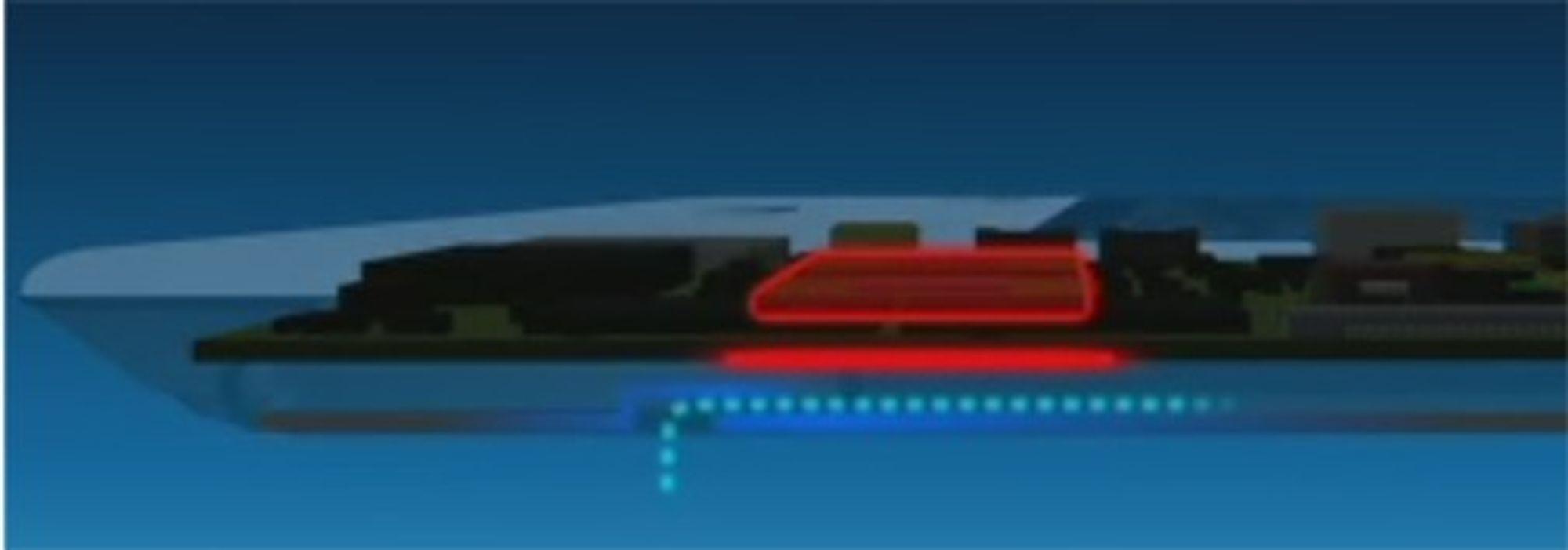 Bærbar PC hvor undersiden kjøles ved hjelp av laminære luftstrømmer.
