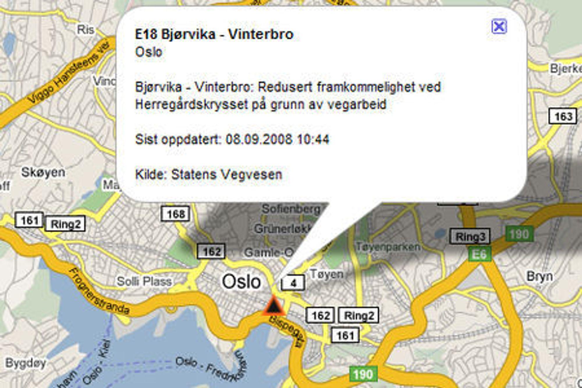 P4 tilbyr trafikkmeldinger med stedsanvisning som er integrert med kart fra Google. Denne uken vil de begynne å dele ut dataene fritt til alle. (Skjermbilde: trafikkflyt.no)