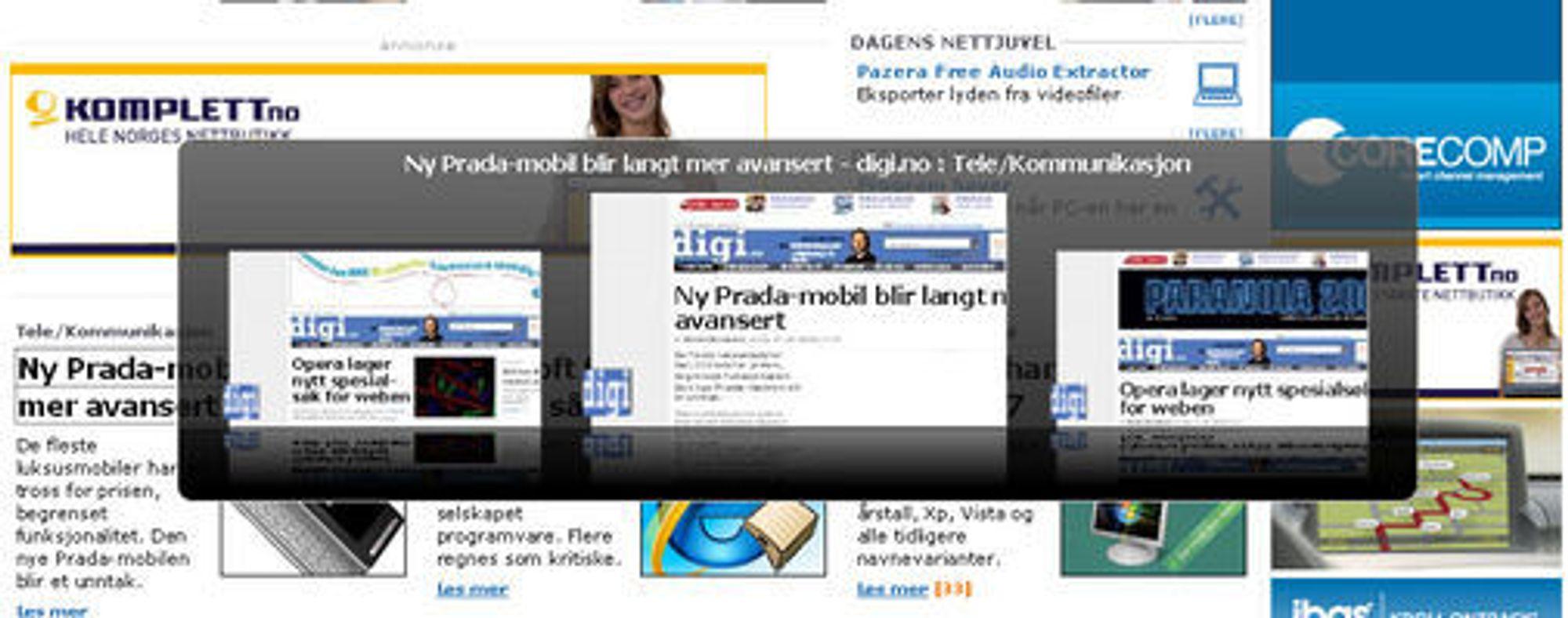 Firefox 3.1 beta 1: Forhåndsvisning av faner.