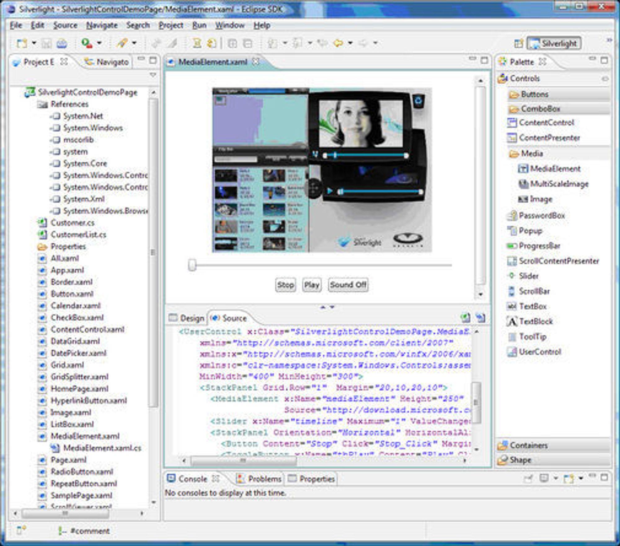 Tidlig versjon av Eclipse Tools for Microsoft Silverlight.