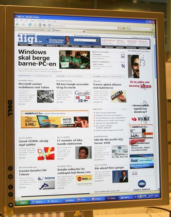 En 20 tommers widescreen-skjerm i portrettmodus tilsvarer forsiden på en tabloidavis.
