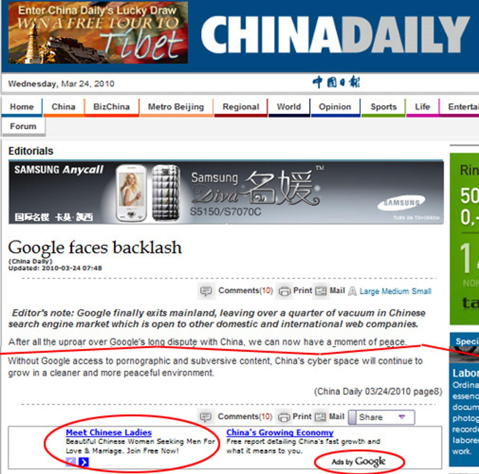 Det offisielle talerøret China Daily gleder seg over mindre pornografi når Google legger ned søketjenesten, samtidig som de gjerne kjører Google-annonser med et kanskje tvilsomt budskap.