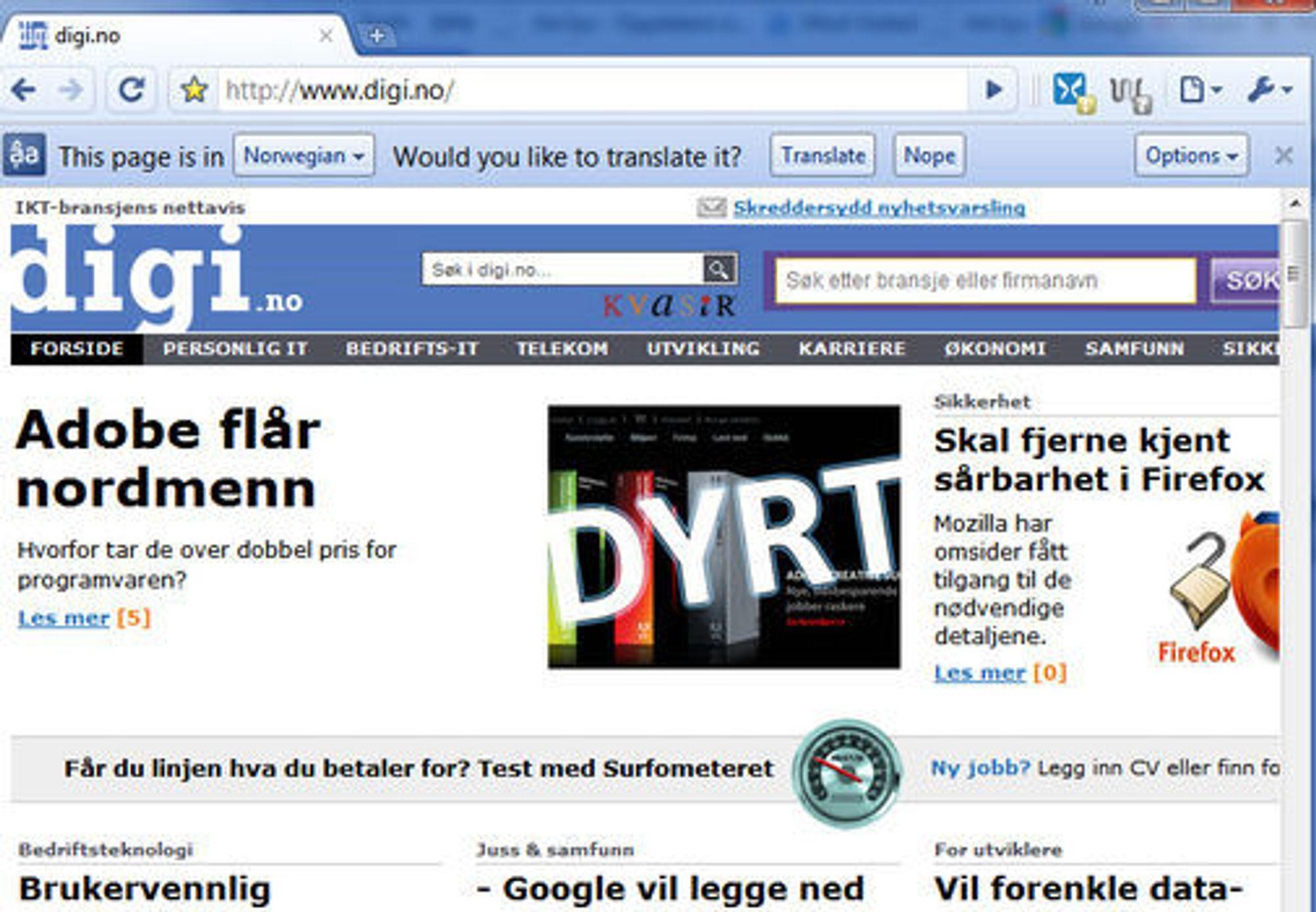 En engelskspråklig versjon av Google Chrome spør om en norskspråklig webside skal oversettes.