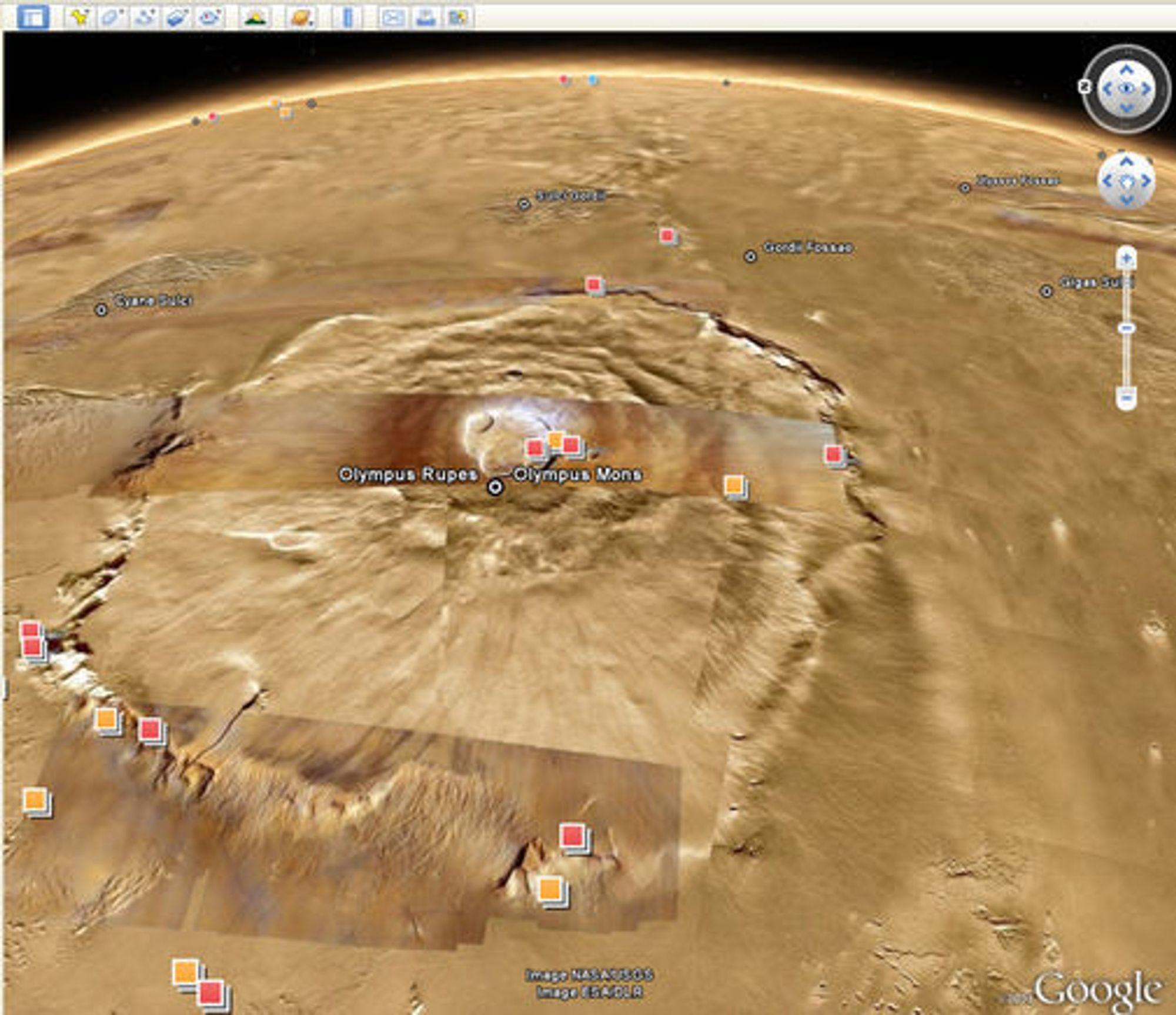 Fjellet Olympus Mons på Mars. Det er omtrent 27 kilometer høyt.