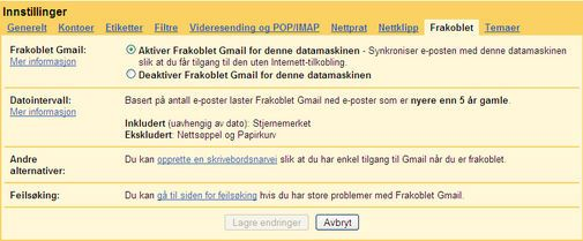 Offline-funksjonen kan kontrolleres også med norsk språkdrakt.