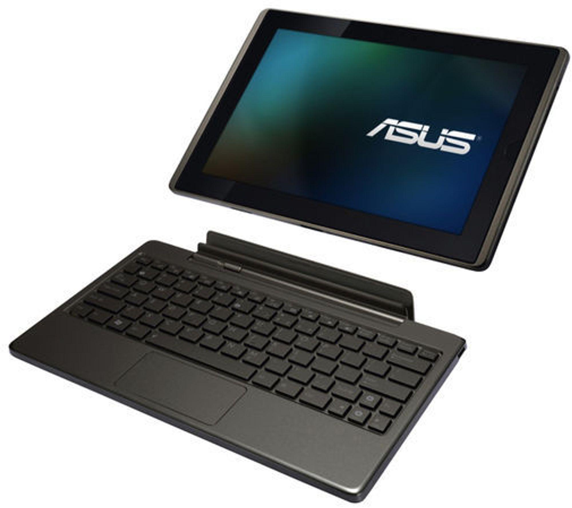 Asus Eee Pad Transformer kan utstyres med en dokkstasjon som først og fremst er et fysisk tastatur og ekstra batteri.