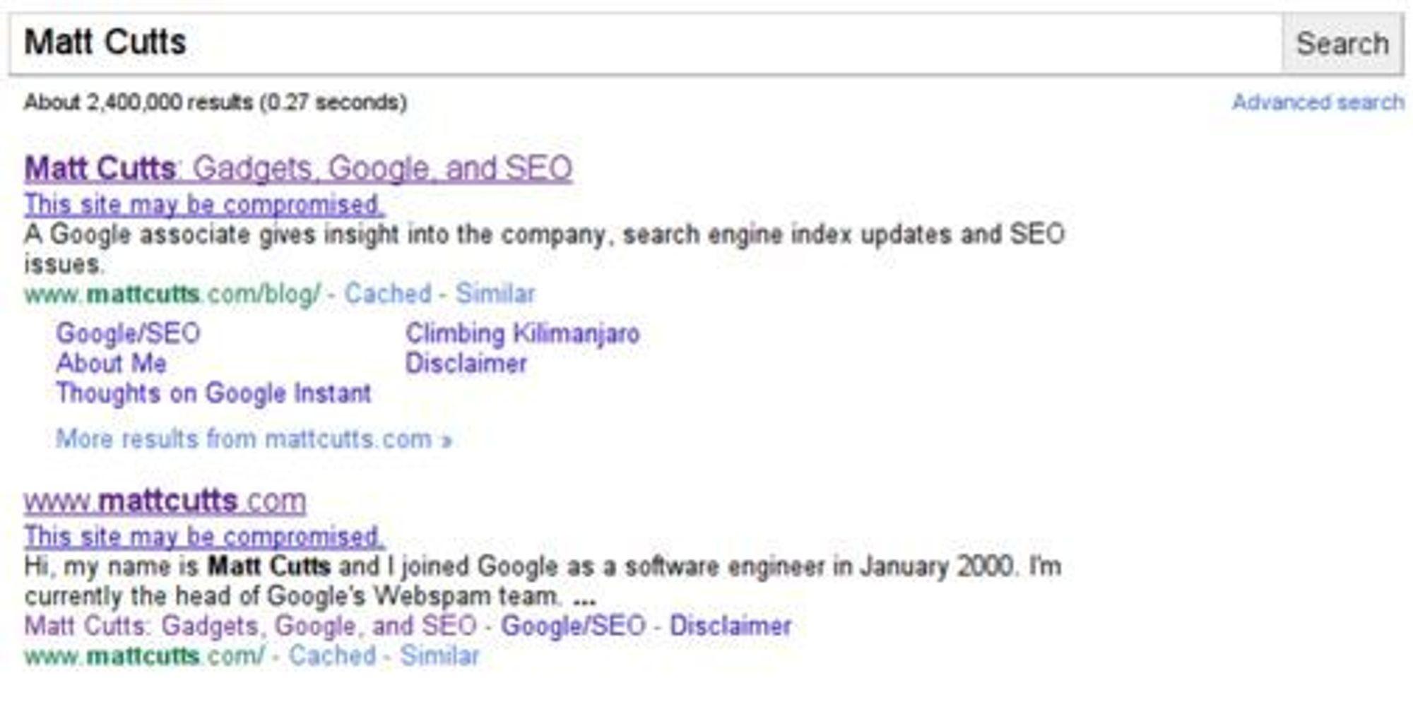 Google advarer om kompromitterte nettsteder i søkeresultatene