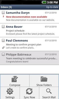 Lotus Notes Traveler for Android. Menyen vises nederst.