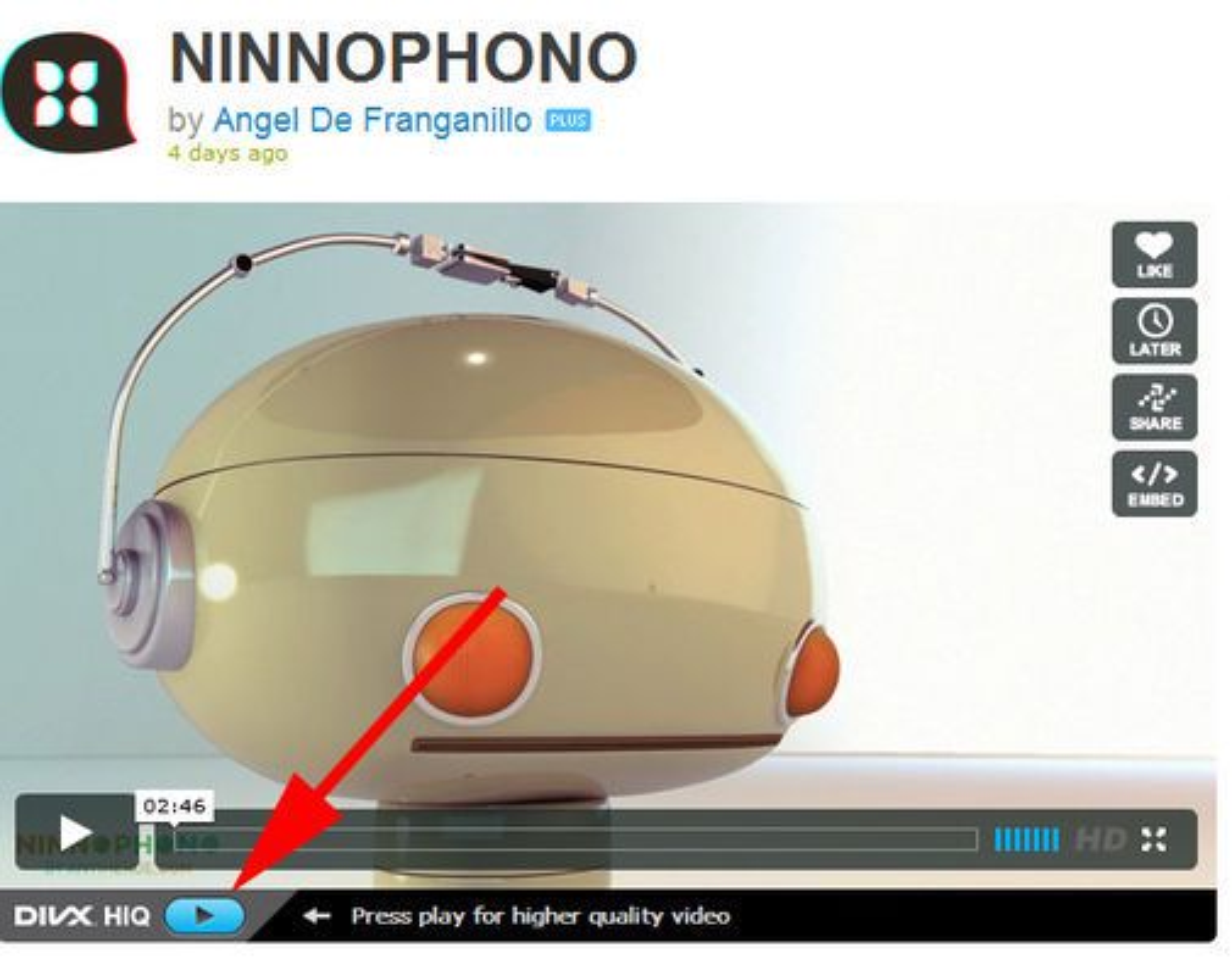 Vimeo.com-video kan spilles av med DivX HiQ.