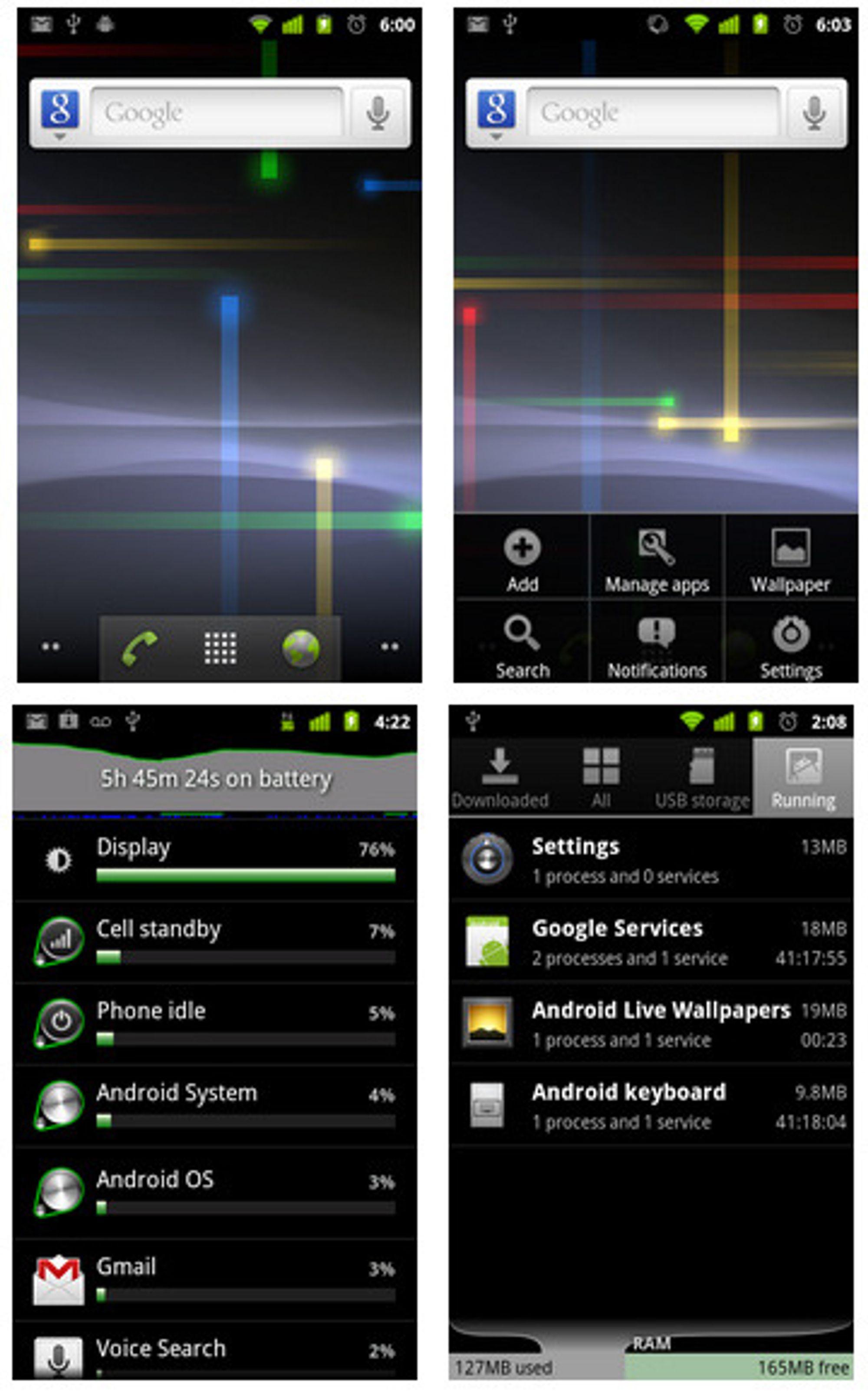 Standard brukergrensesnitt i Android 2.3.