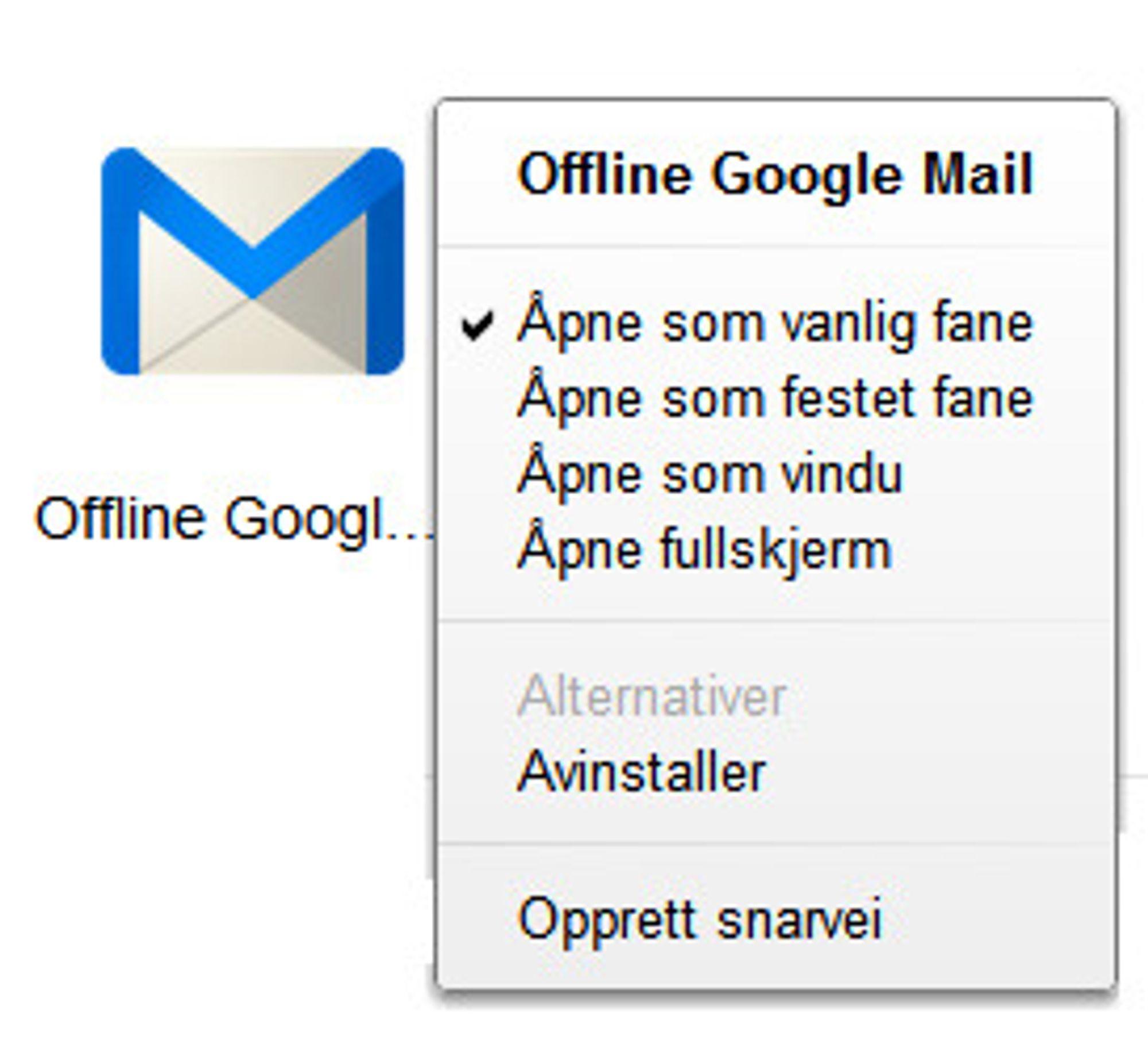 Offline Gmail startes fra siden som vises når man åpner en ny fane i Google Chrome