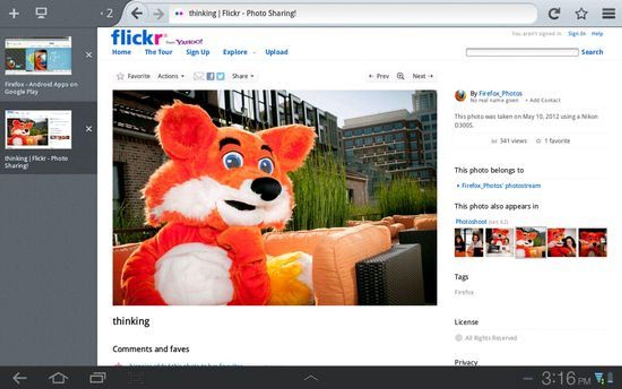 Nettbrettutgaven av Firefox 15.