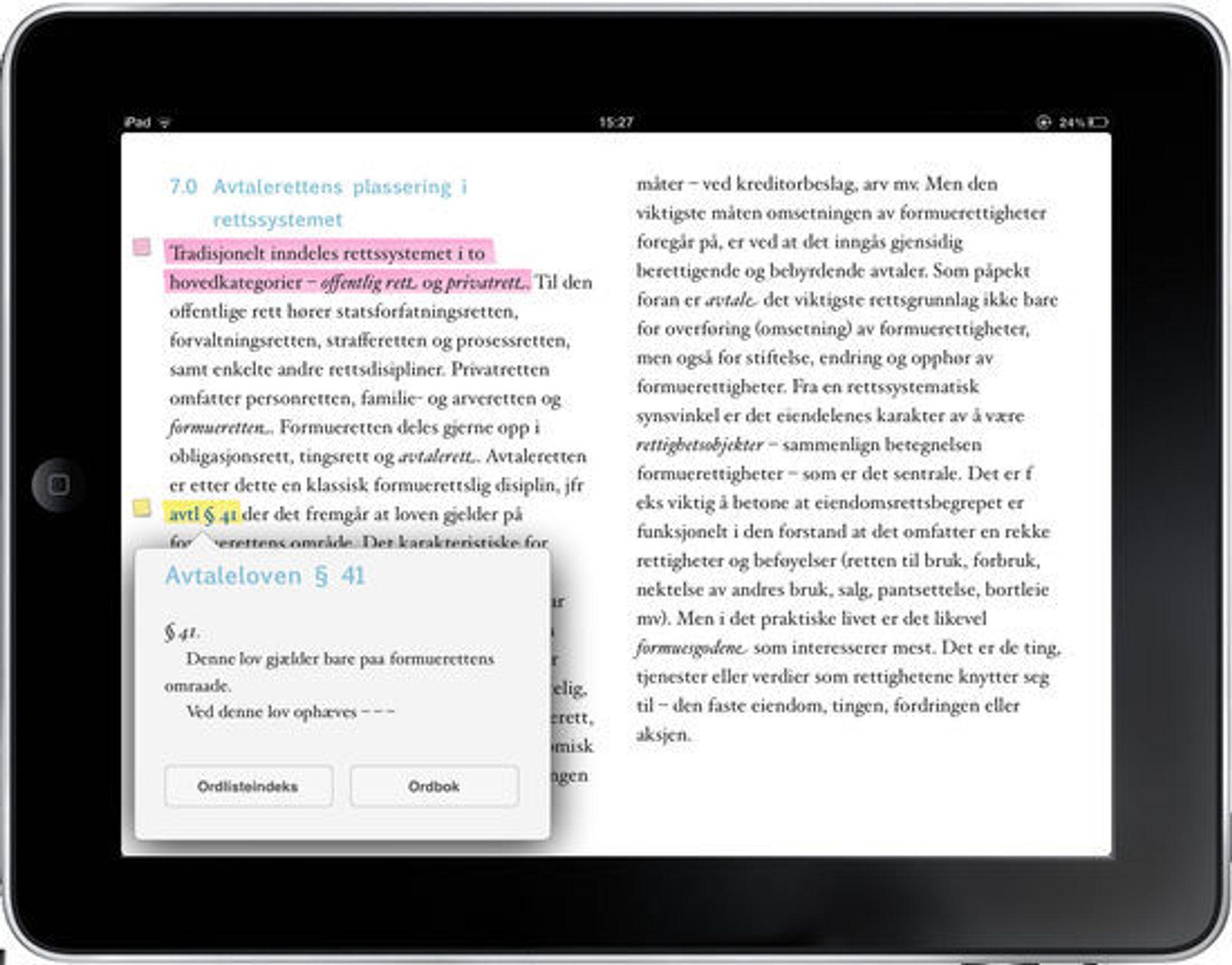 Skjermbilde av iPad utgaven til en av Gyldendals fagbøker innen jus.