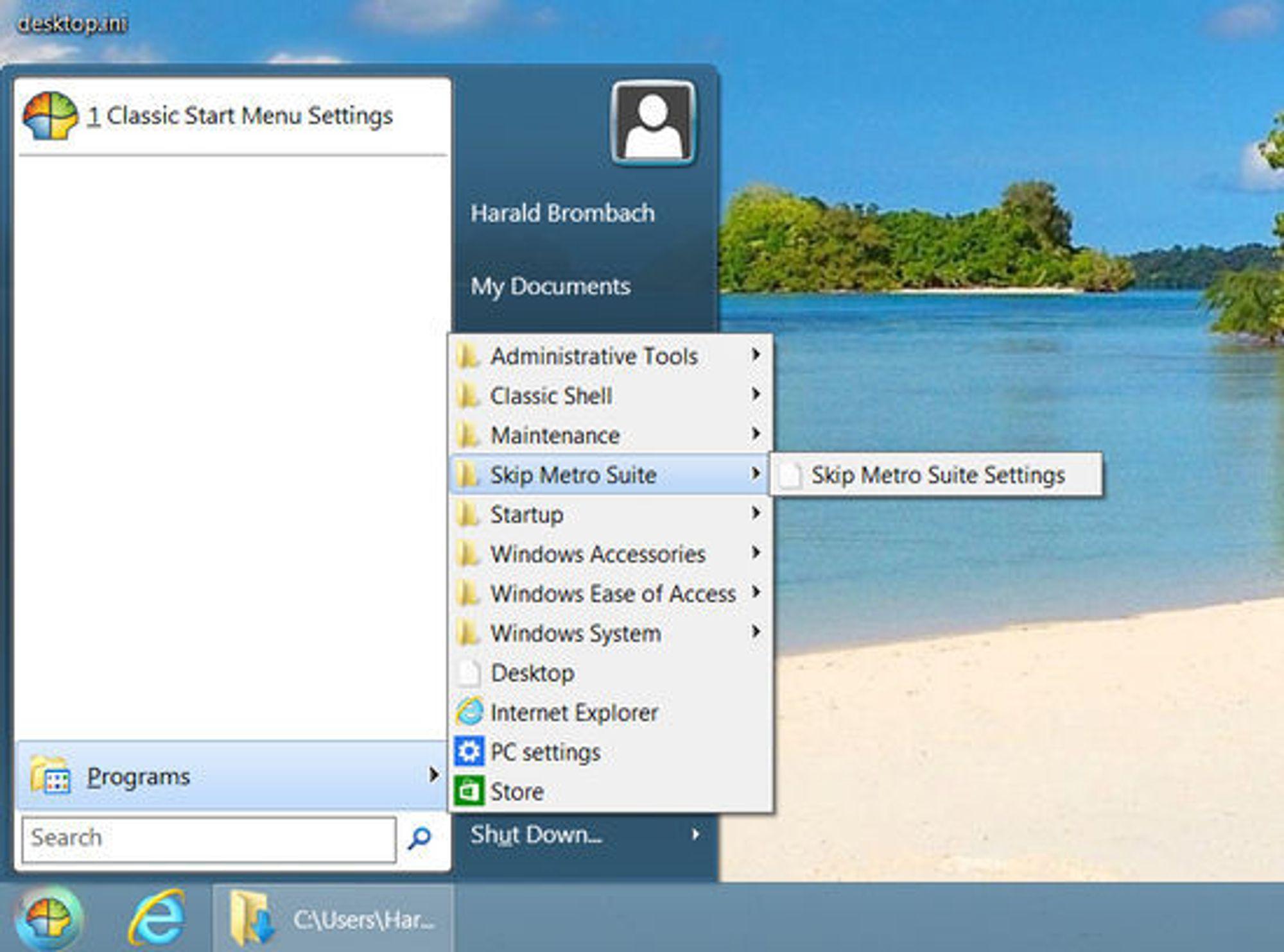 Windows 8 med en klassisk startmeny, muliggjort med tredjepartsapplikasjonen Classic Shell.