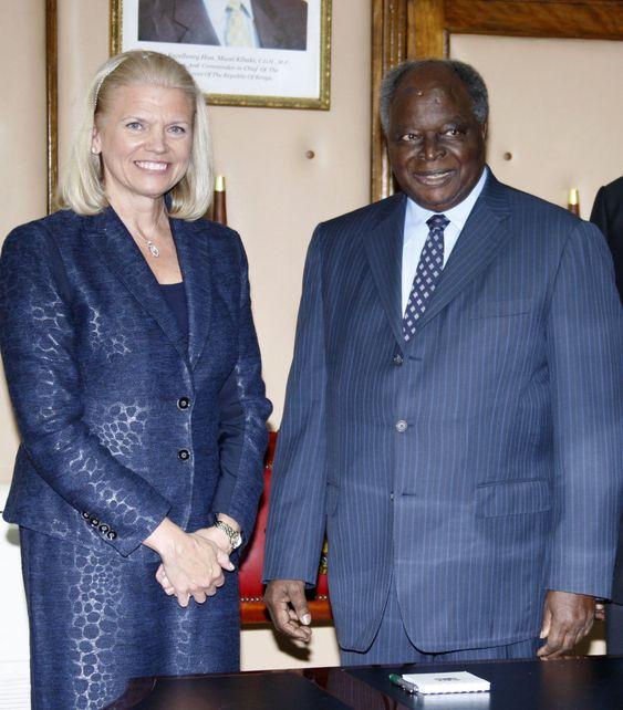 IBMs toppsjef Ginni Rometty møtte mandag Kenyas president Mwai Kibaki for å markere storsatsingen i Afrika.