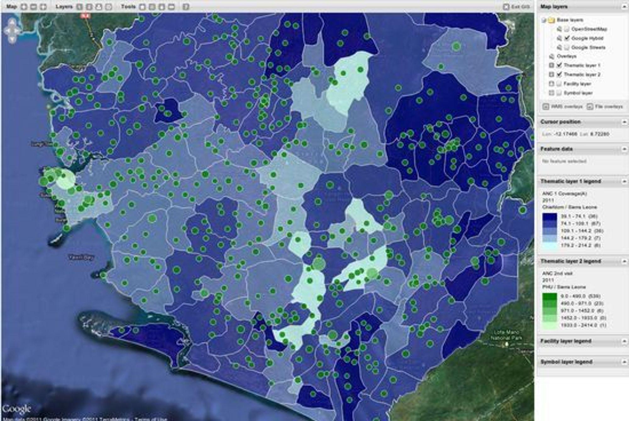 Bruken av åpne standarder forenkler utviklingsarbeidet for å visualisere helsedata på distriktsnivå, her fra Sierra Leone.