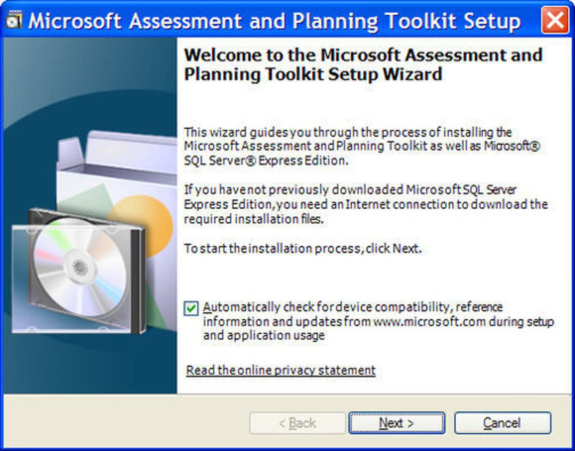 Installasjonen av Microsoft Assessment and Planning Toolkit 4.0 beta krever at SQL Server ExpressEdition lastes ned og installeres.