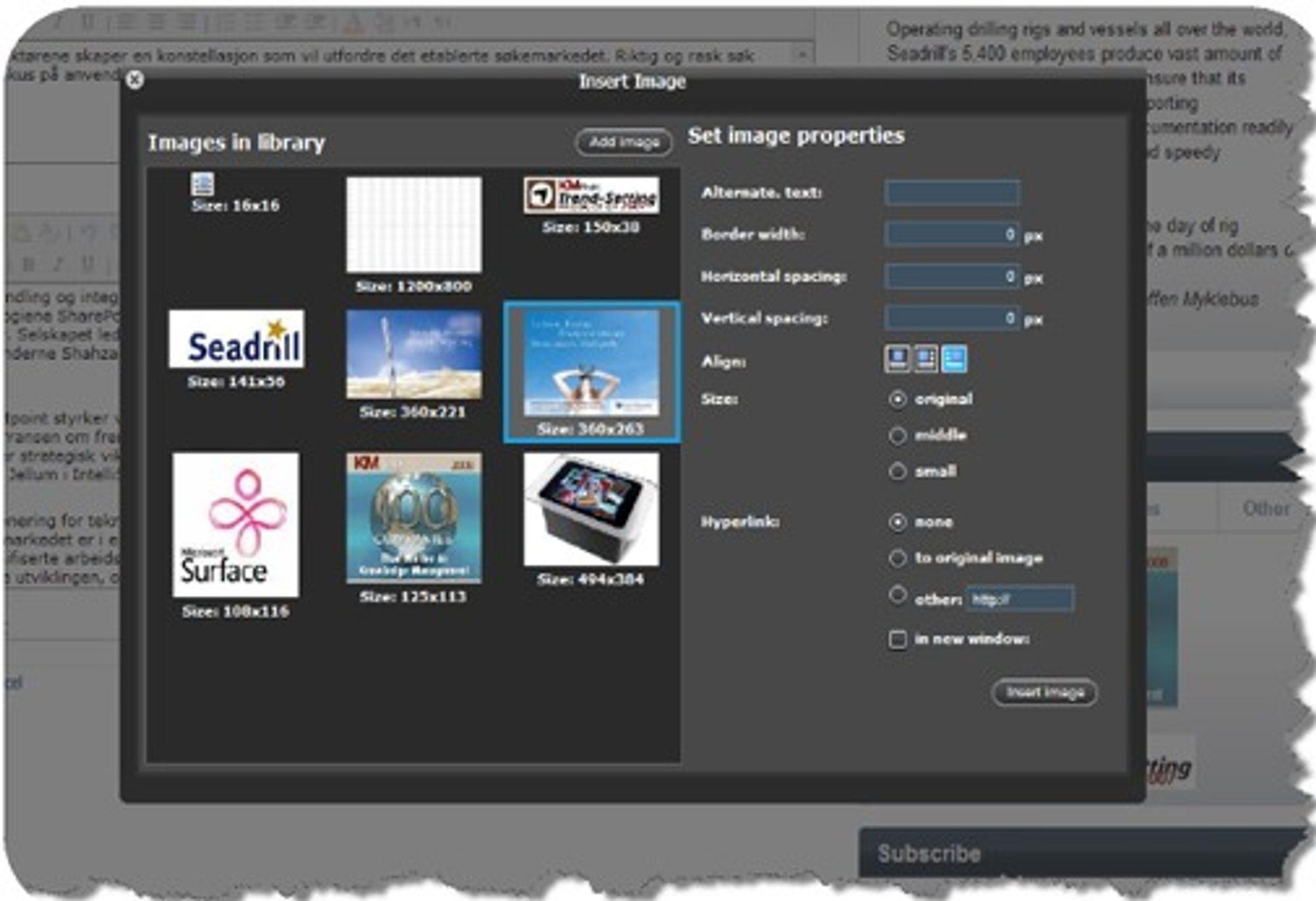 Bildehåndtering i SharePublisher er langt enklere enn den Microsoft selv legger opptil i WSS og MOSS.