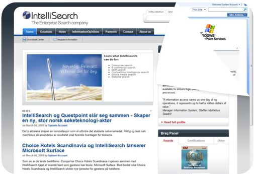 Nettstedet til Questpoints morselskap IntelliSearch redigeres i SharePublisher.