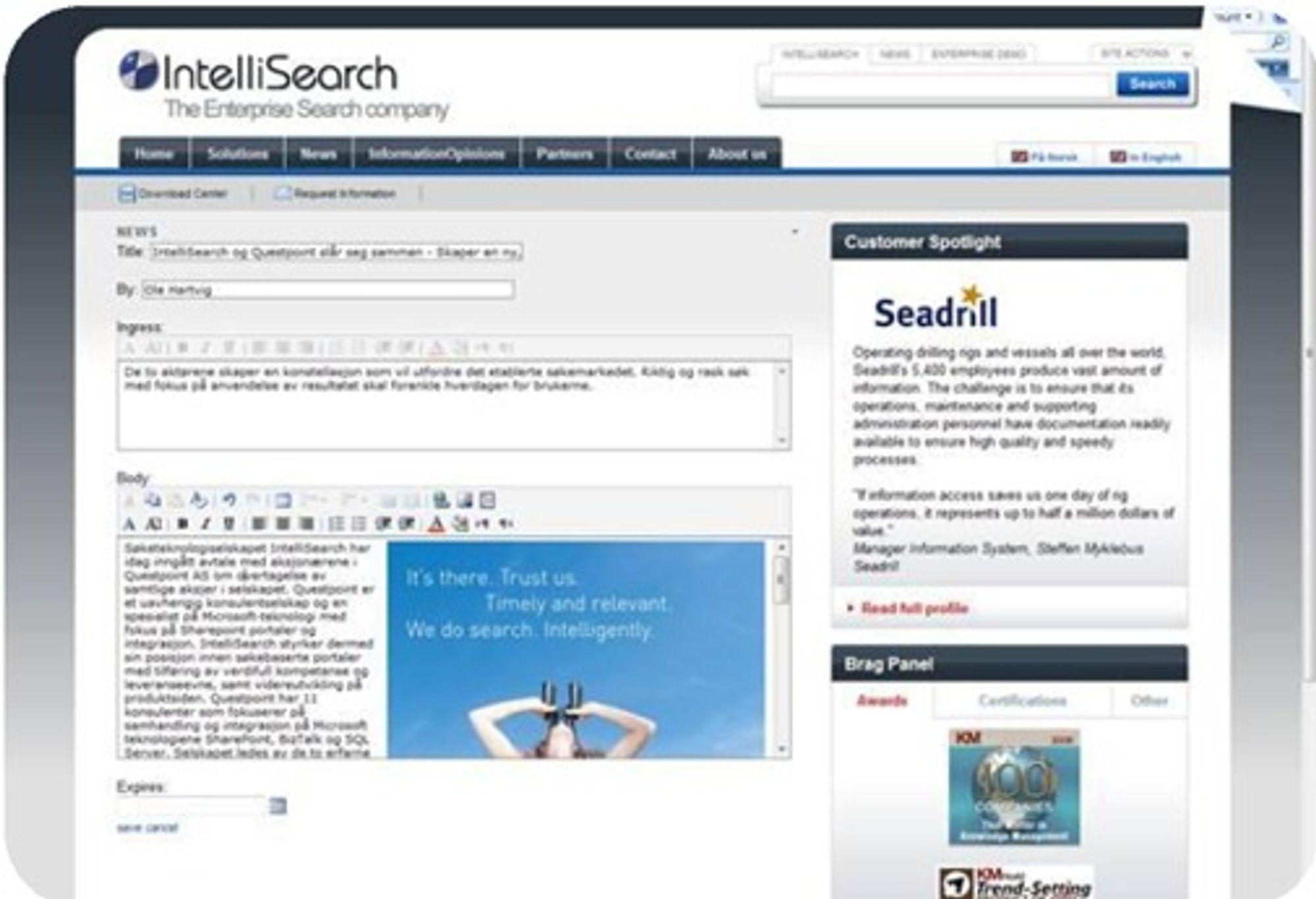 En ny nyhetsartikkel lages ved å fylle ut et skjema som vises i nettleseren.