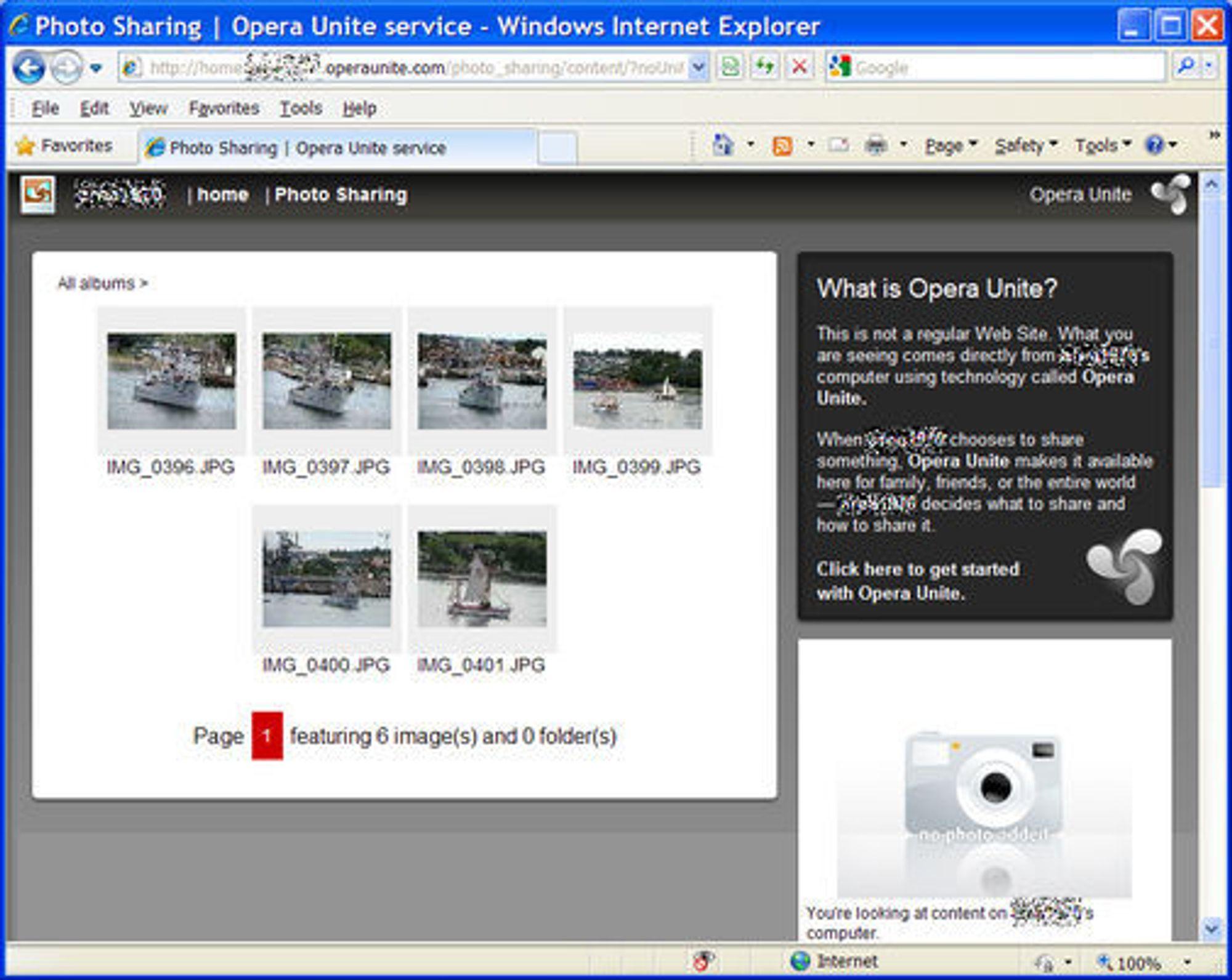 De samme fotografiene er nå også tilgjengelige fra IE8. Men bare så lenge Opera-nettleseren kjøres på PC-en og Opera Unite-funksjonen er aktivert.