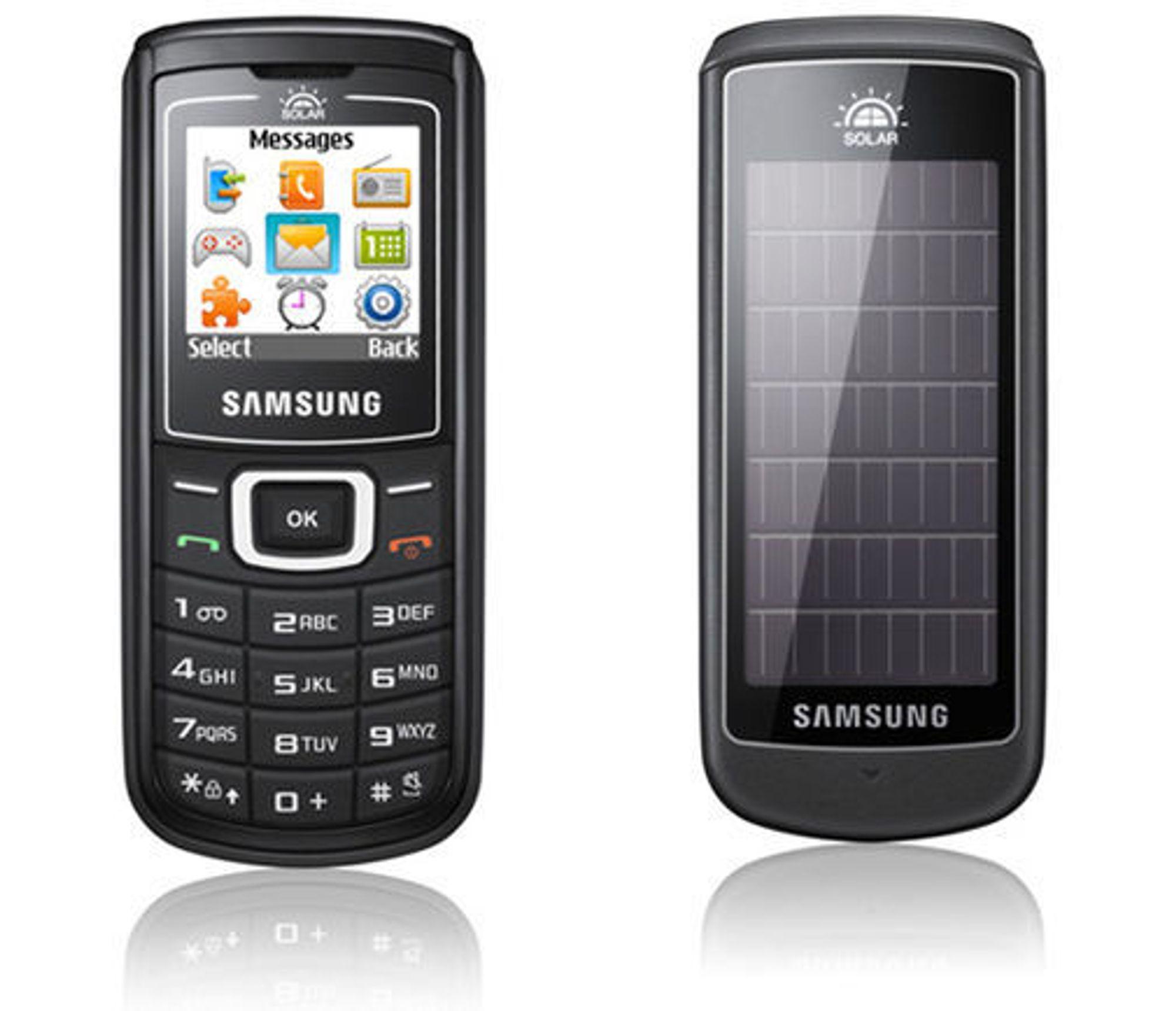 Samsung Guru 1107 med solceller på baksiden.