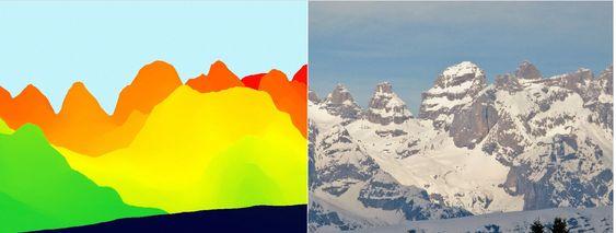 Terrengdata og fotografi av den samme fjellformasjonen.
