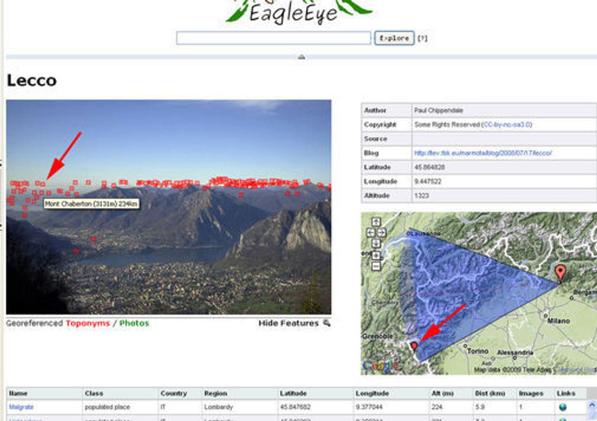 Bilde av EagleEye-tjenesten. Pilene peker på det samme objektet, men vist på to helt forskjellige måter.