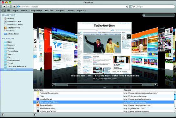 Apple Safari 4 med Cover Flow