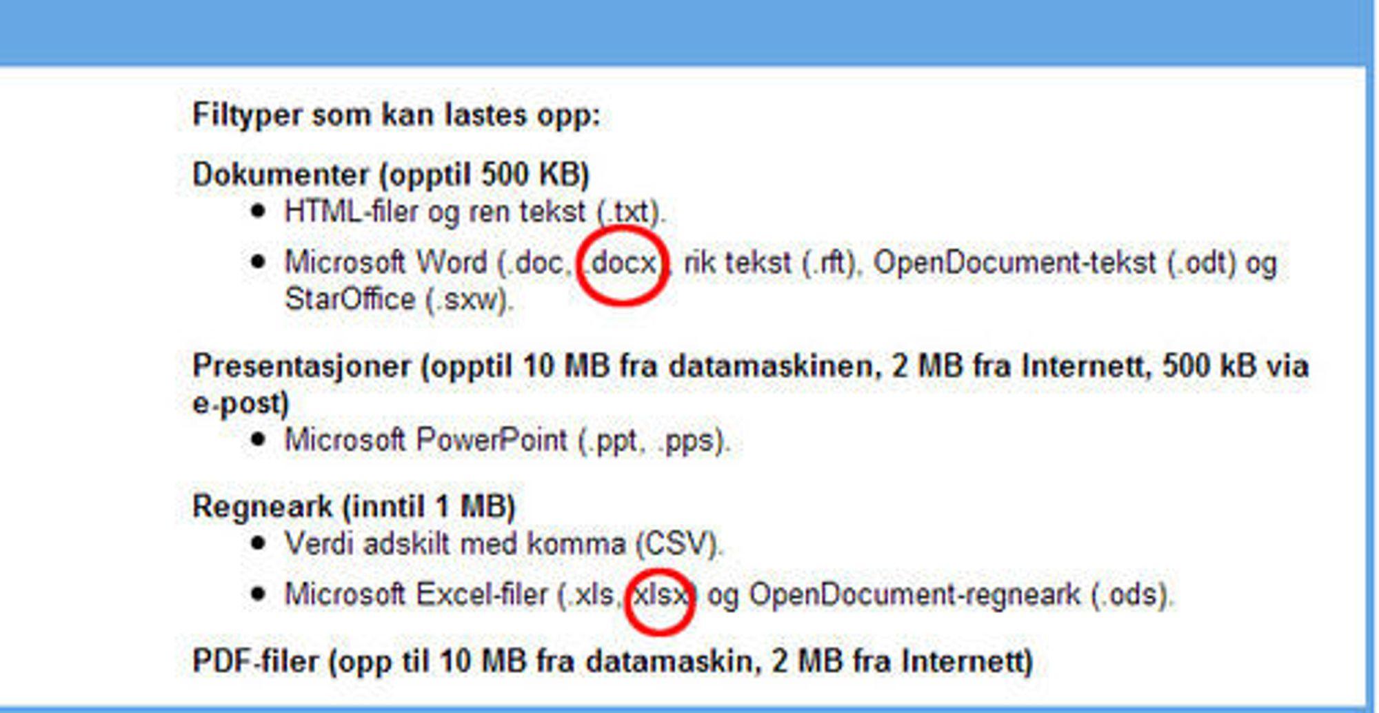 Filtyper som kan lastes opp i Google Dokumenter.