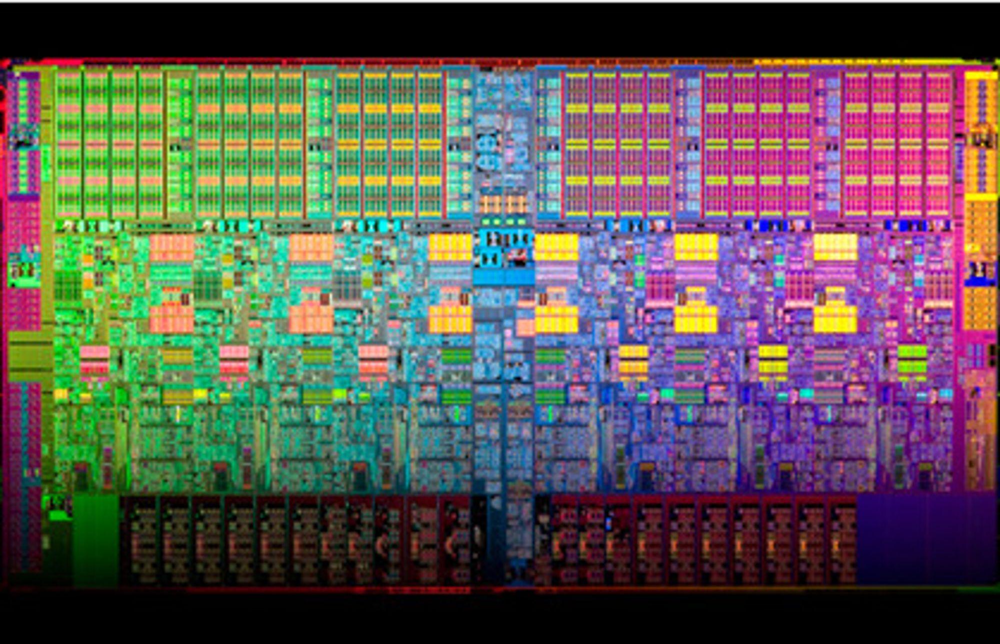 Intel elsker å fotografere innmaten i sine prosessorer i dramatiske farger. Dette er en sekskjernet Xeon 5600.