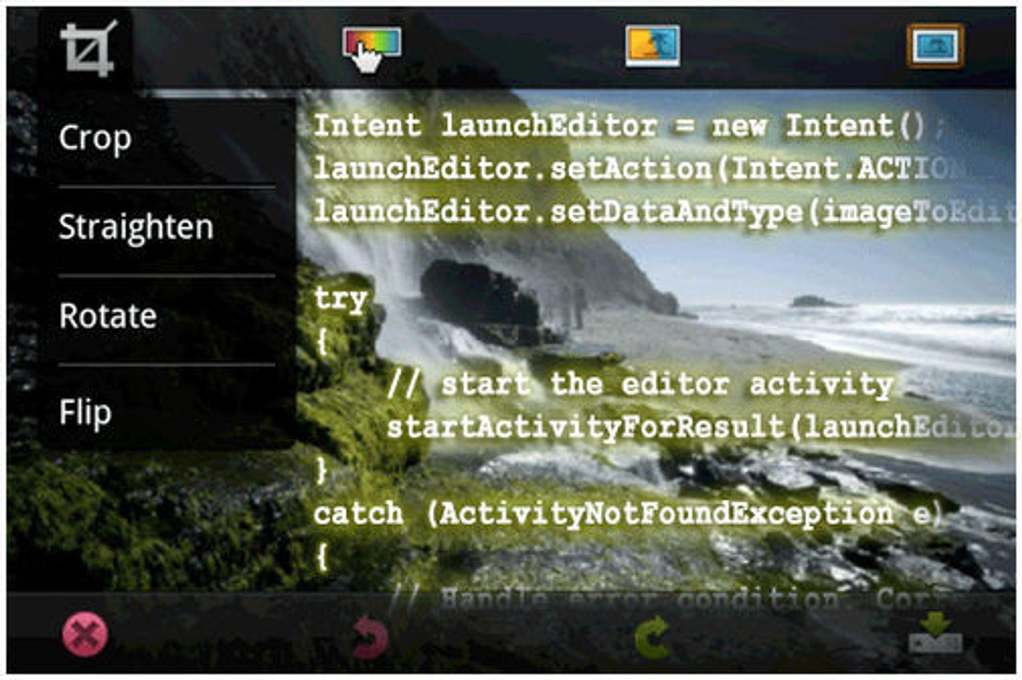 Integrasjon av Adobe Photoshop.com App for Android 1.1 i en vilkårlig Android-applikasjon.