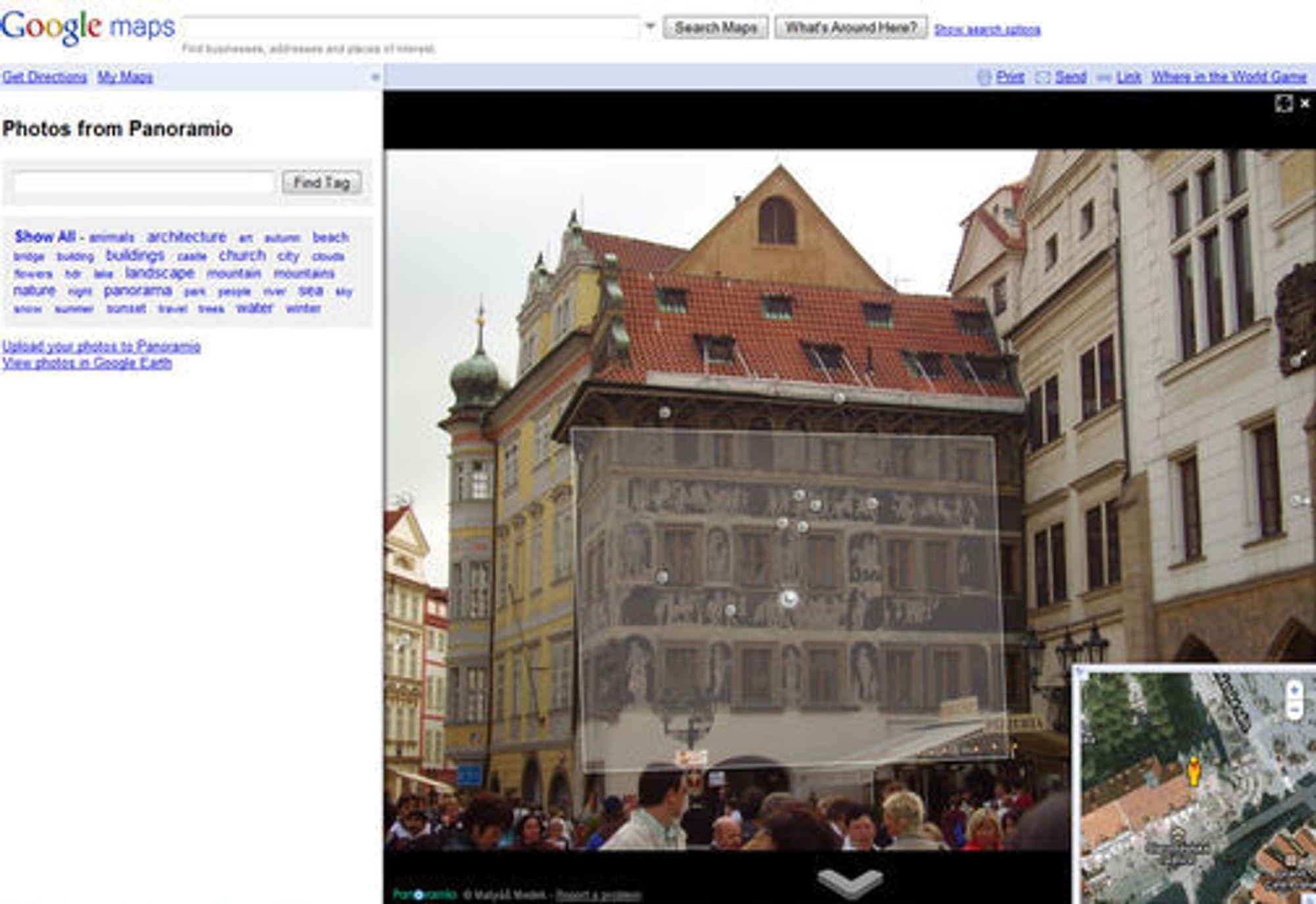 Brukerbilder lagt i riktig plan i Google Maps Street View.