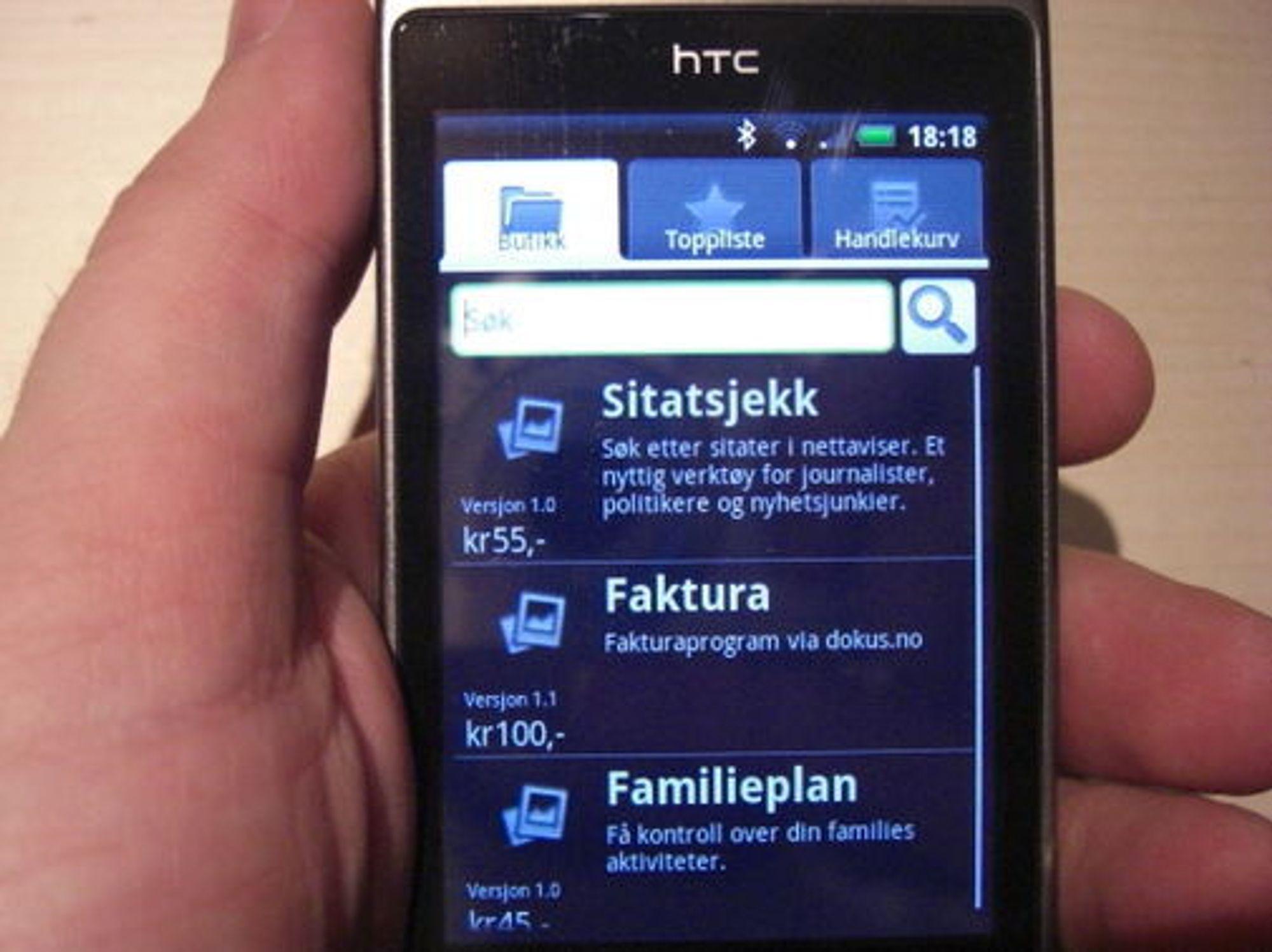 Det grafiske er allerede på plass i den norske Android-butikken. Løsningen skal etter planen lanseres i slutten av måneden.