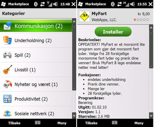 Windows Marketplace med norsk Windows Mobile 6.5.
