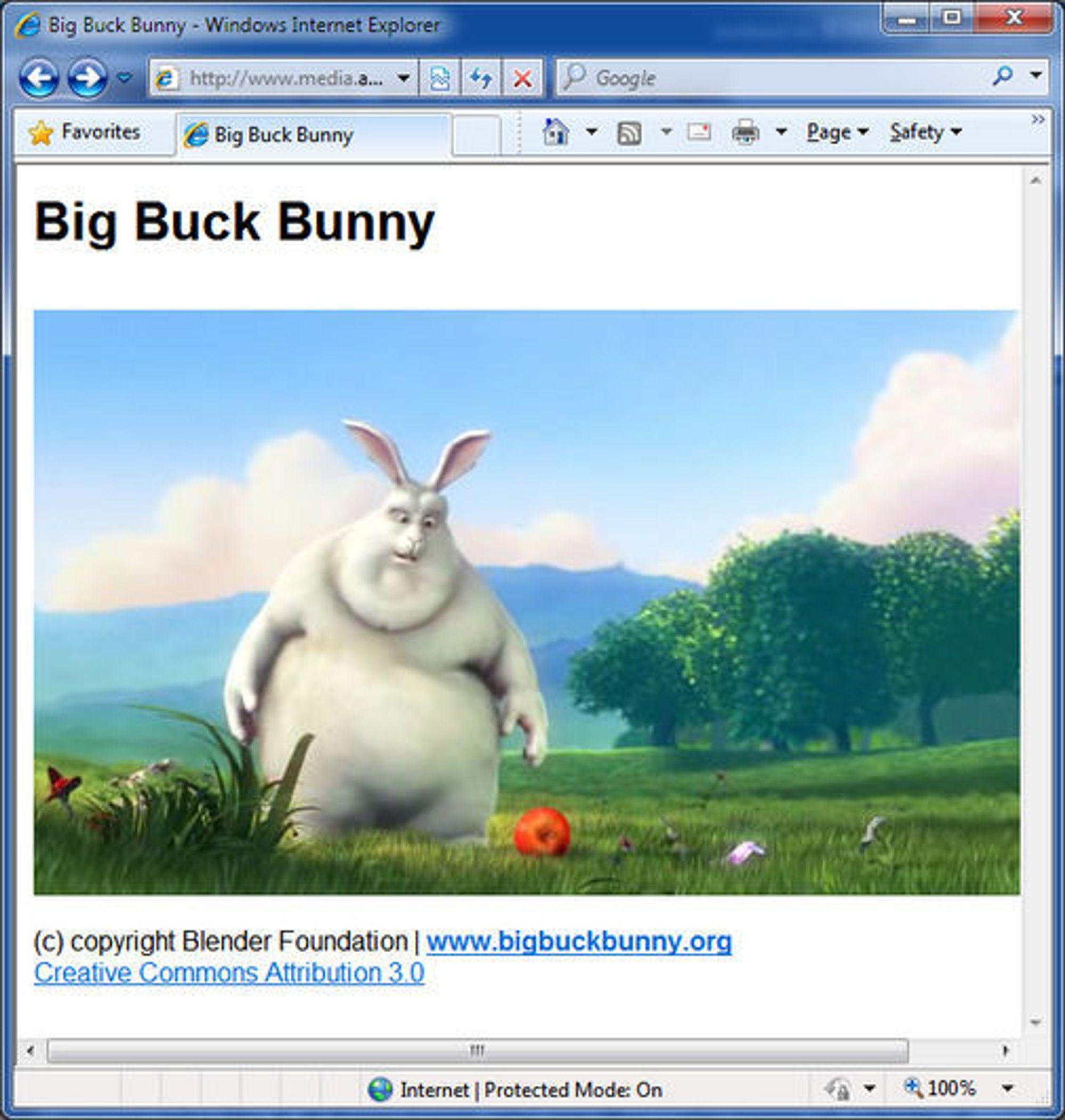 Avspilling av Ogg Theora-basert video i en HTML5-basert løsning med Internet Explorer.