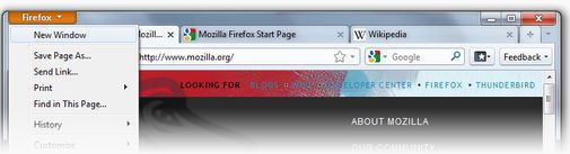 Foreløpig utseende på Firefox-knappen og fanene som er plassert i toppen av vinduet i Firefox 4 Beta 1.