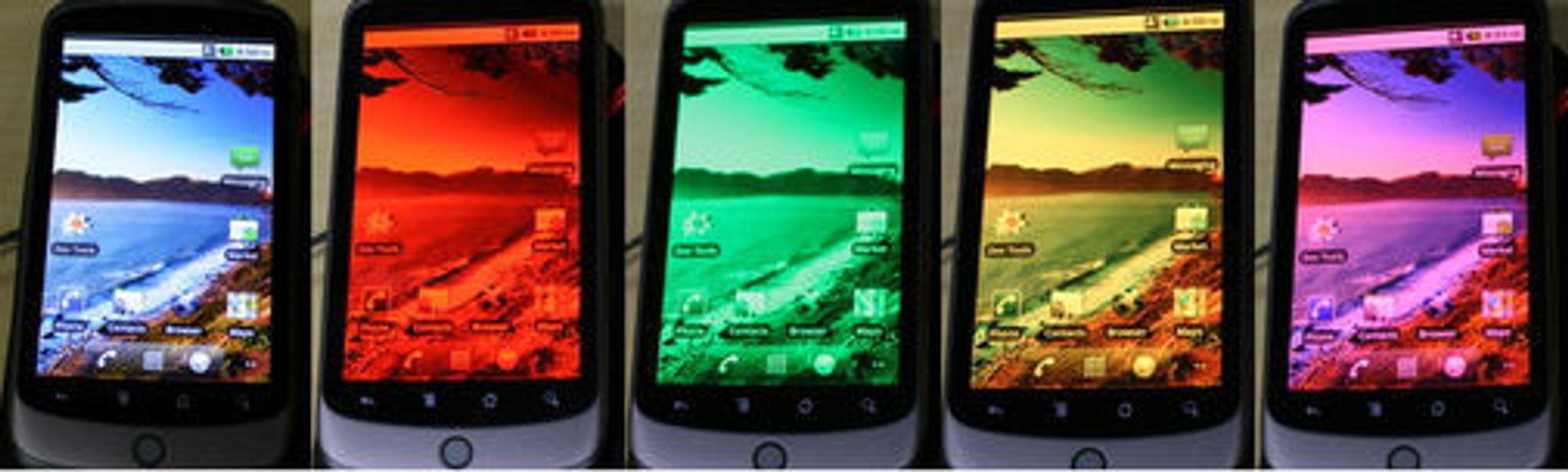 Nexus One med ulike kombinasjoner av fargekanaler.