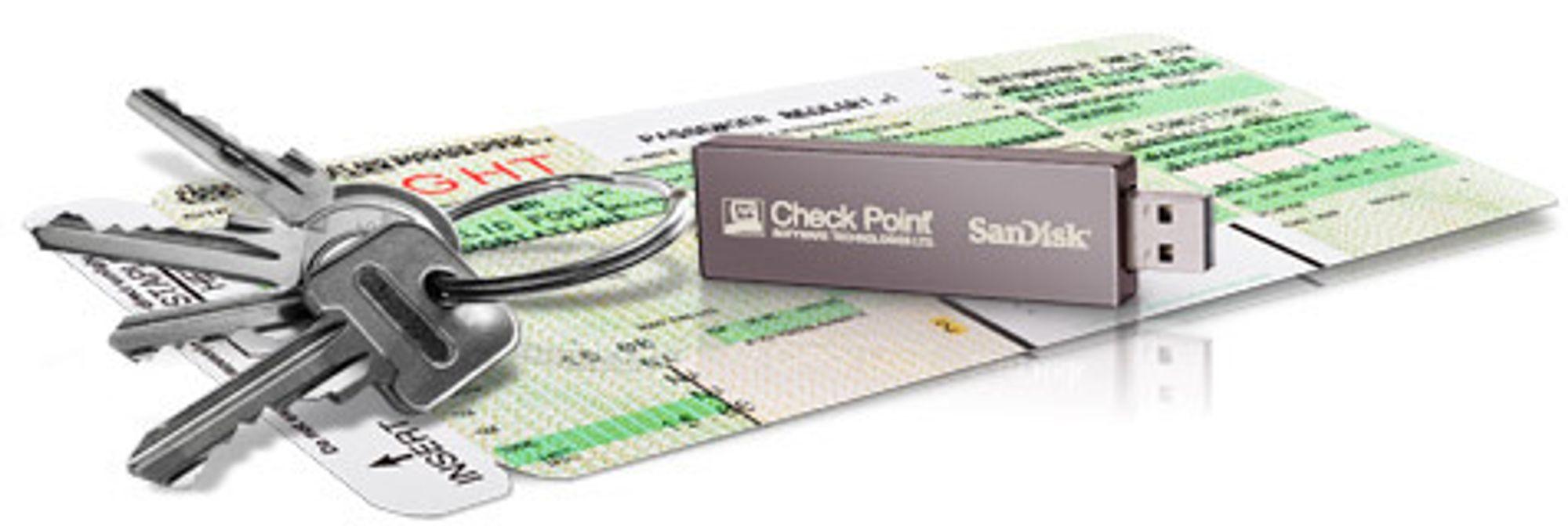USB-pinnen Check Point Abra spiller sammen med sentrale løsninger for å sikre brukeren et trygt arbeidsmiljø, uavhengig av hva slags pc pinnen stikkes inn i.