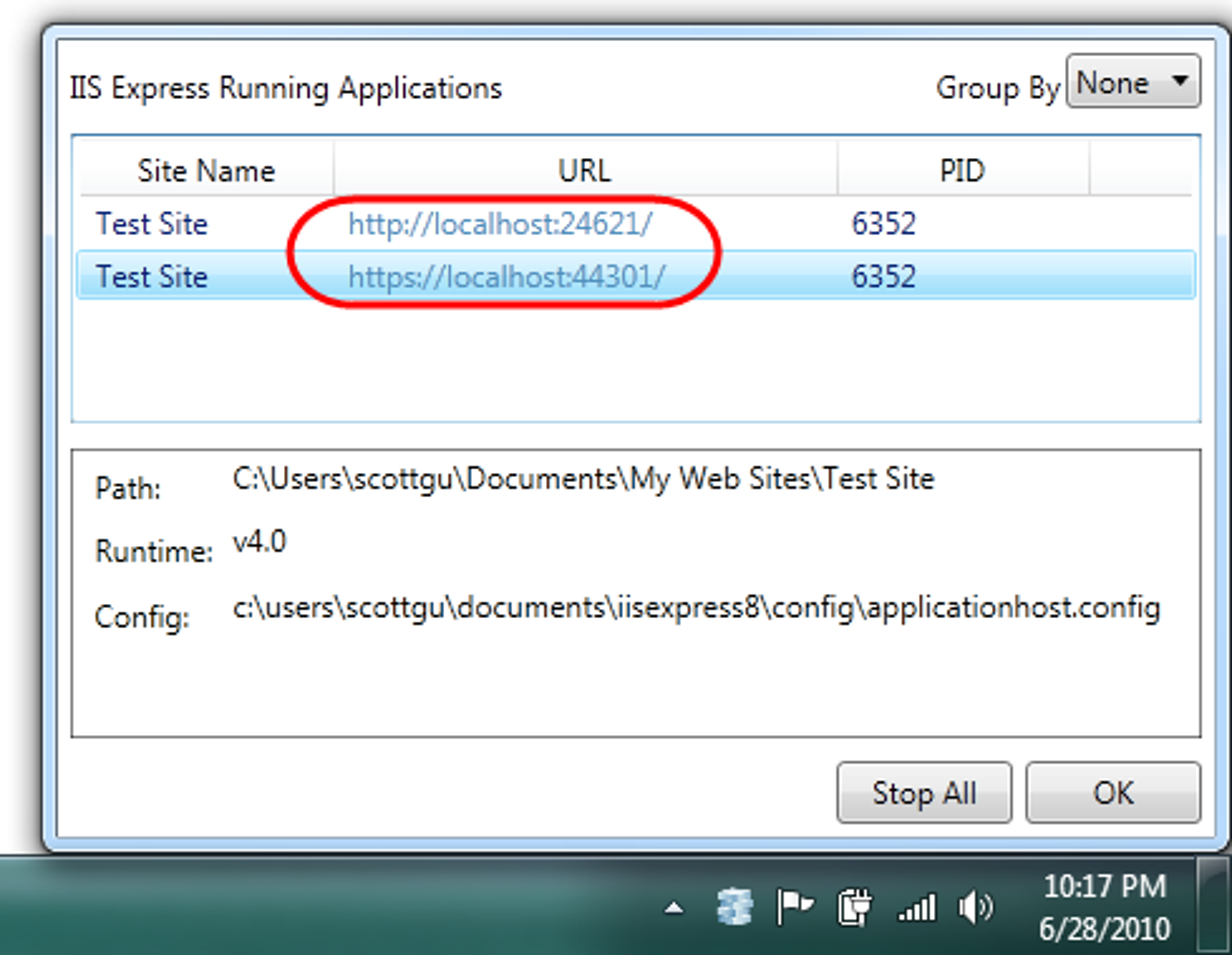 Statusvindu for Microsoft IIS Express
