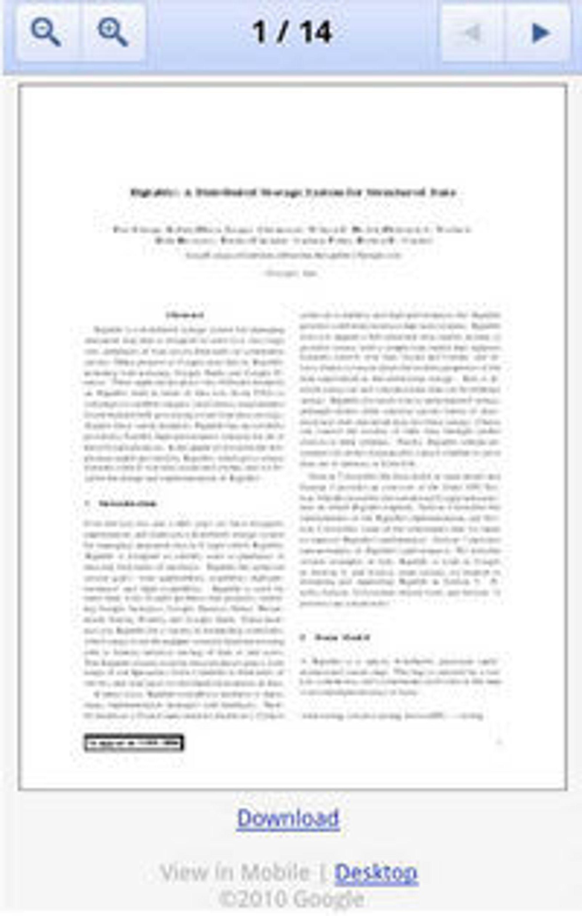 Visning av PDF-dokument i Google Docs Viewer for mobil.