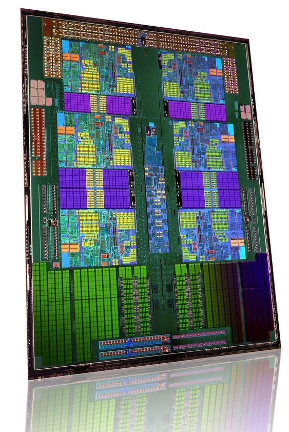 Innmaten i en prosessor i AMD Opteron 4100-serien.