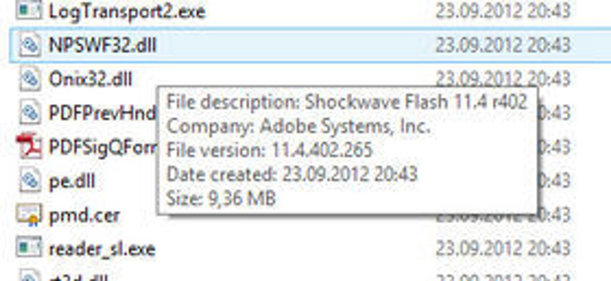 Det var denne filen som fikk digi.no-leseren til å reagere.